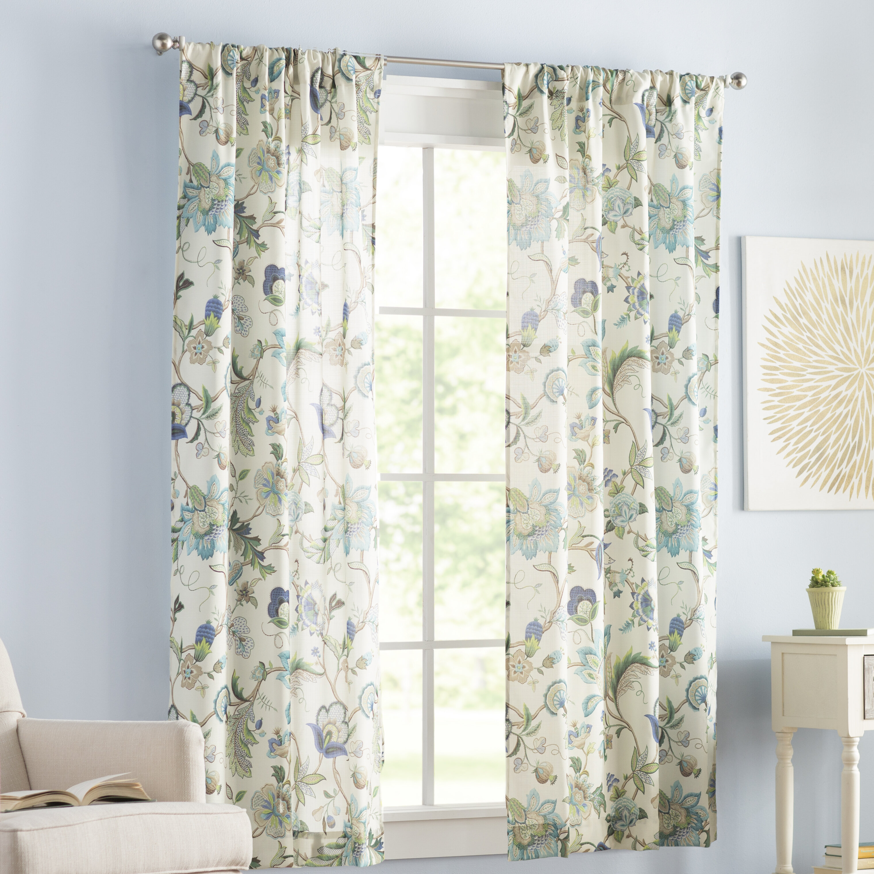 Tuckerman Floral/flower Rod Pocket Panel Pair For Whitman Curtain Panel Pairs (View 18 of 30)