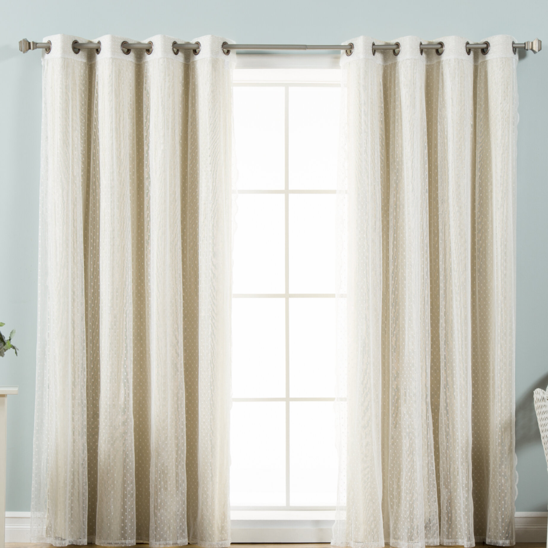 Tulle Lace Polka Dots Blackout Thermal Grommet Curtain Panels In Mix And Match Blackout Tulle Lace Sheer Curtain Panel Sets (View 13 of 20)