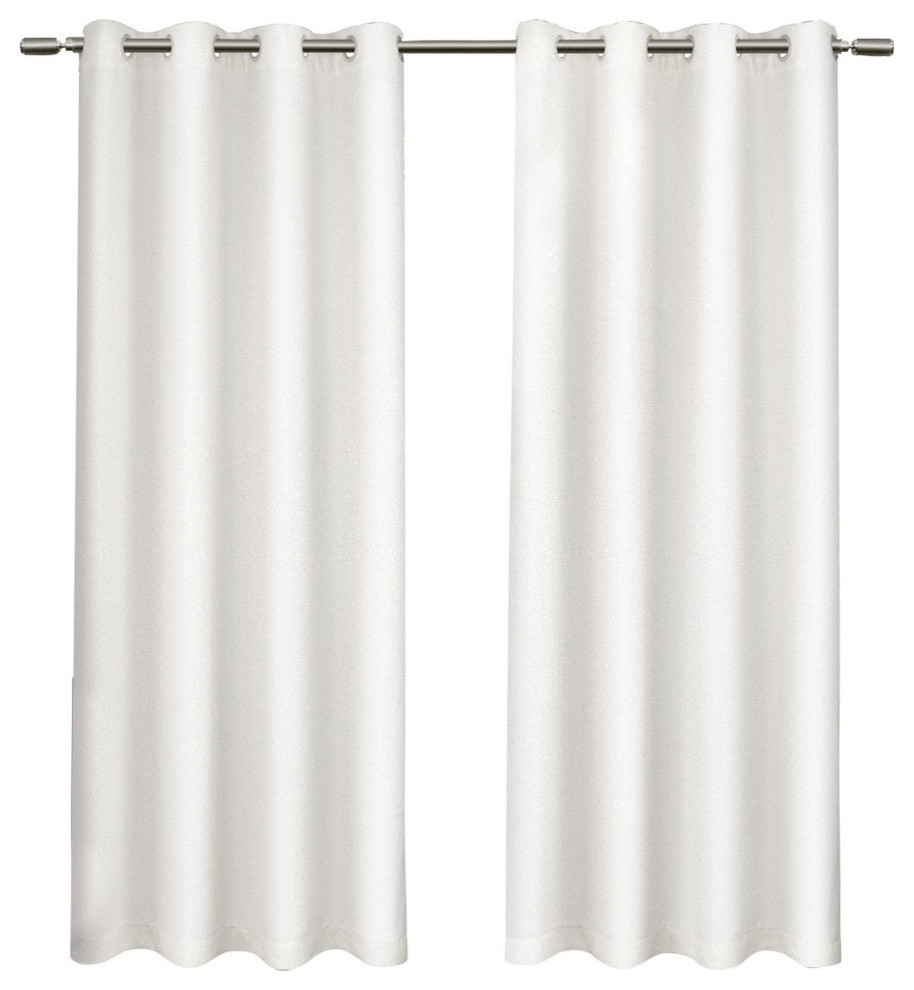 "Tweed Textured Linen Blackout Grommet Curtain Panel Pair, Winter White, 52""x 84"" Inside Signature Ivory Velvet Blackout Single Curtain Panels (View 33 of 34)"