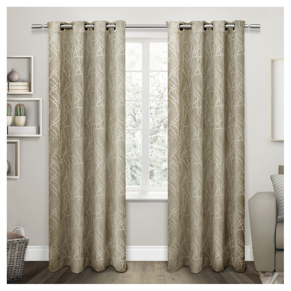 Twig Insulated Woven Blackout Grommet Top Window Curtain With Twig Insulated Blackout Curtain Panel Pairs With Grommet Top (View 3 of 30)