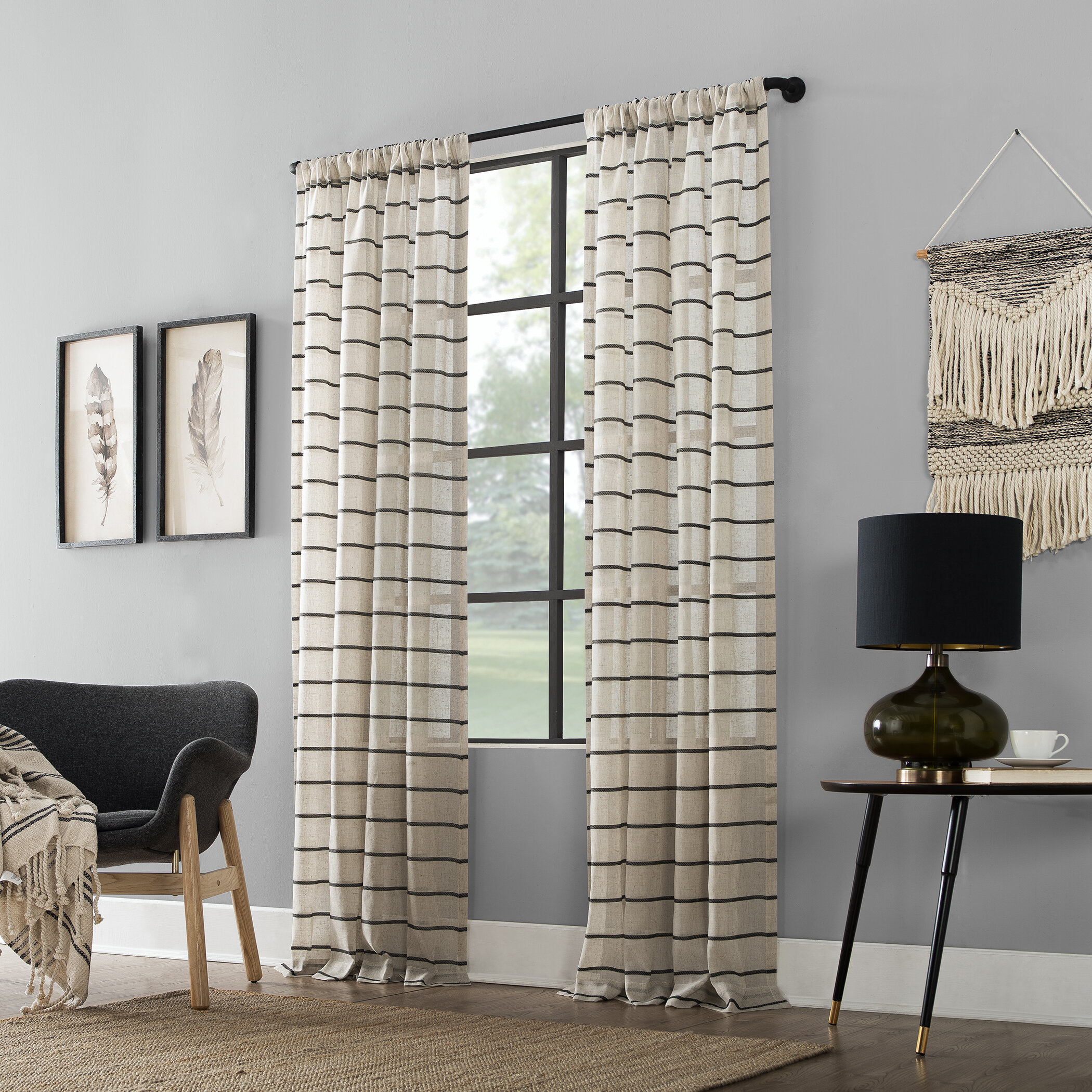 Twill Anti Dust Striped Semi Sheer Rod Pocket Curtain Panel Pertaining To Ladonna Rod Pocket Solid Semi Sheer Window Curtain Panels (View 14 of 20)