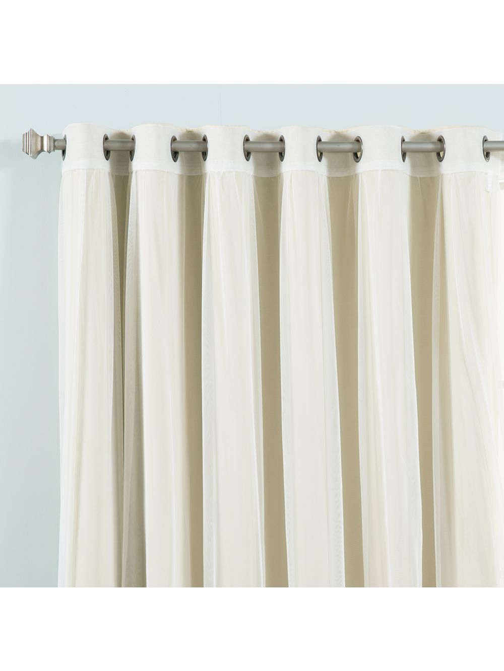 Umixm Wide Tulle & Blackout Curtains - Beige within Mix & Match Blackout Tulle Lace Bronze Grommet Curtain Panel Sets (Image 18 of 20)