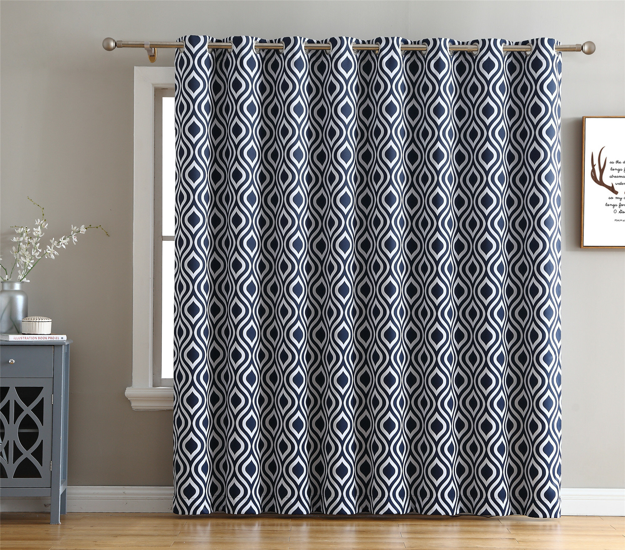 Valarie Geometric Blackout Thermal Grommet Single Curtain Panel Intended For Insulated Cotton Curtain Panel Pairs (View 17 of 20)