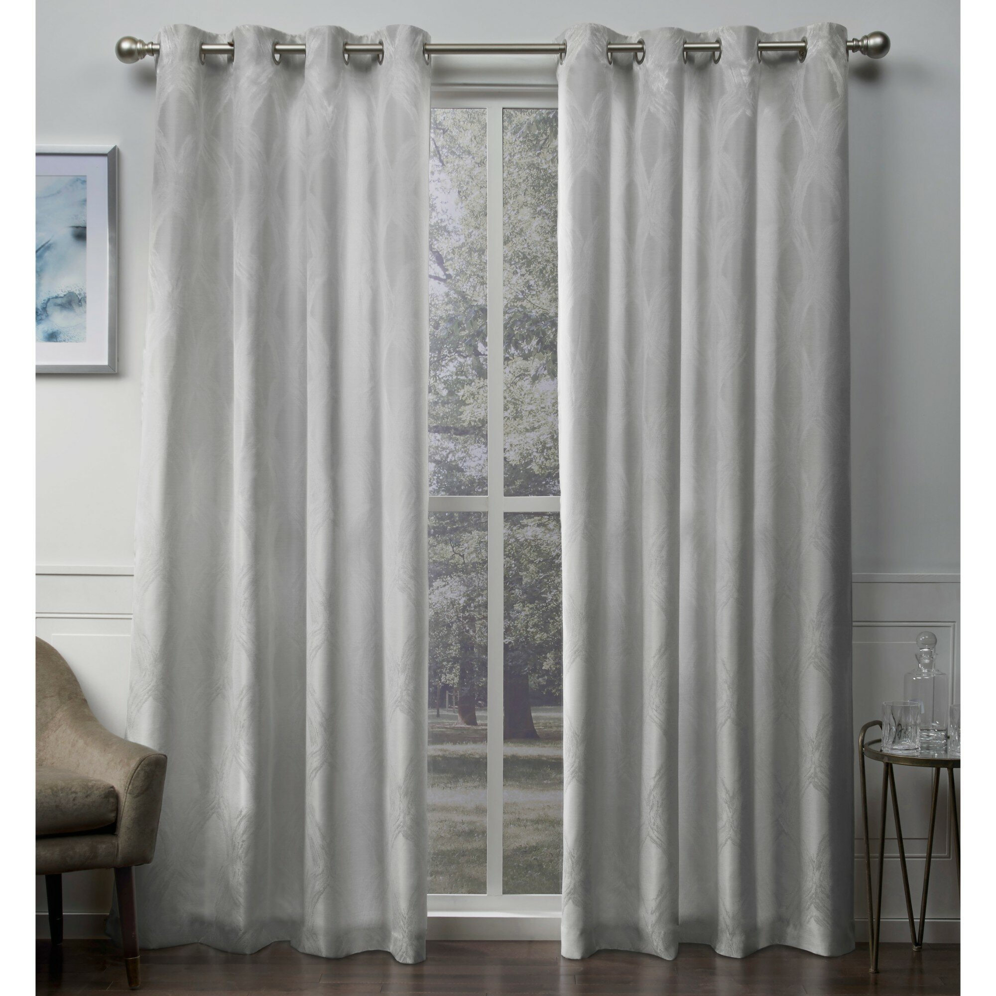 Vallejo Textured Linen Jacquard Geometric Grommet Curtain Panels Inside Thermal Textured Linen Grommet Top Curtain Panel Pairs (View 16 of 30)