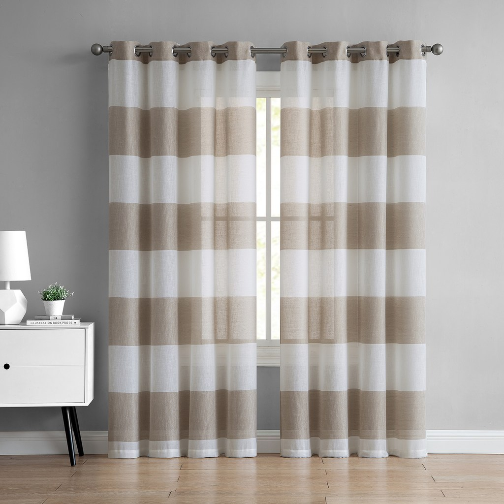 Vcny 1 Panel August Semi Sheer Window Curtain, Beig/green For Chester Polyoni Pintuck Curtain Panels (View 20 of 20)