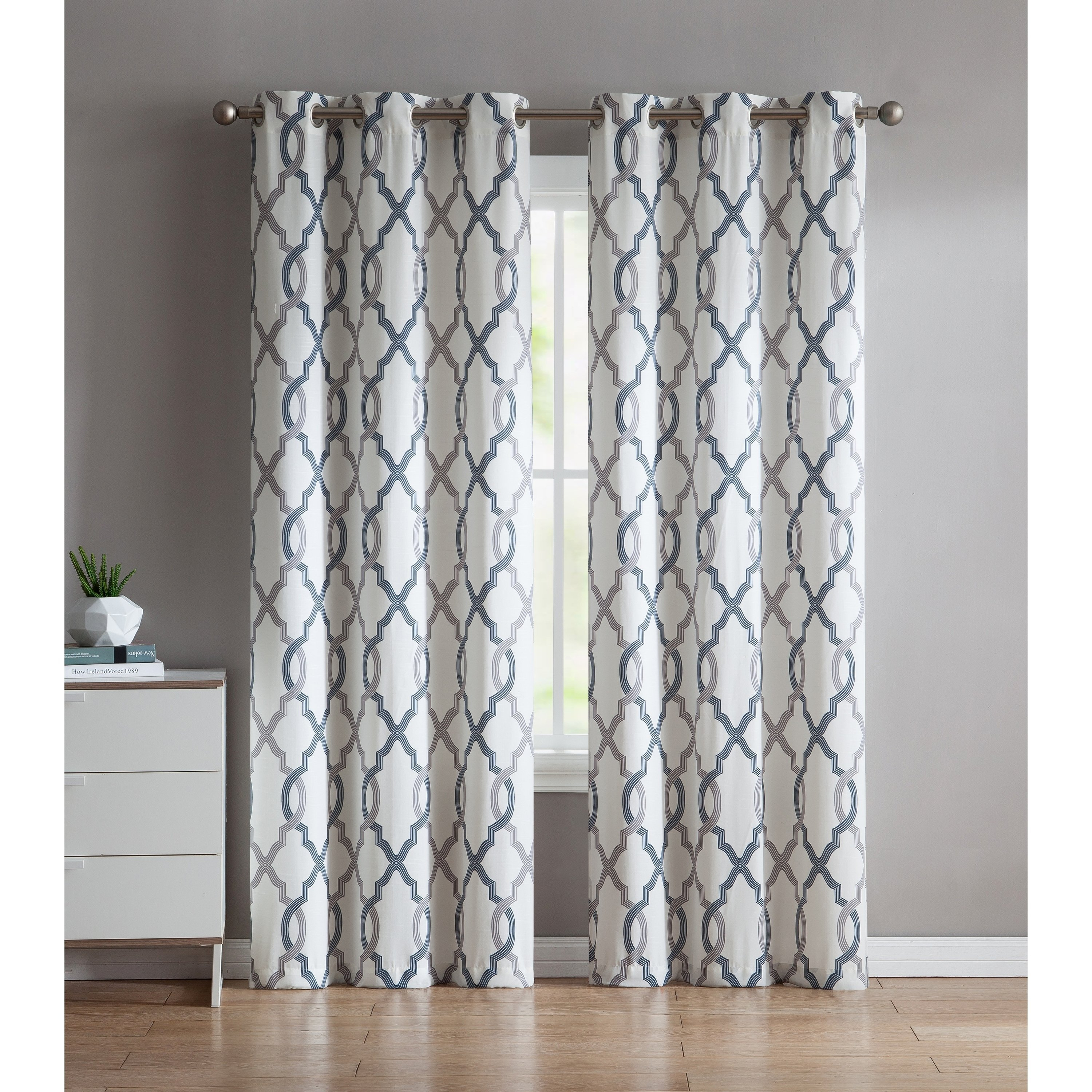 """Vcny Home Caldwell Curtain Panel Pair (38"""" W X 84"""" L – Aqua With Essentials Almaden Fretwork Printed Grommet Top Curtain Panel Pairs (View 14 of 20)"""
