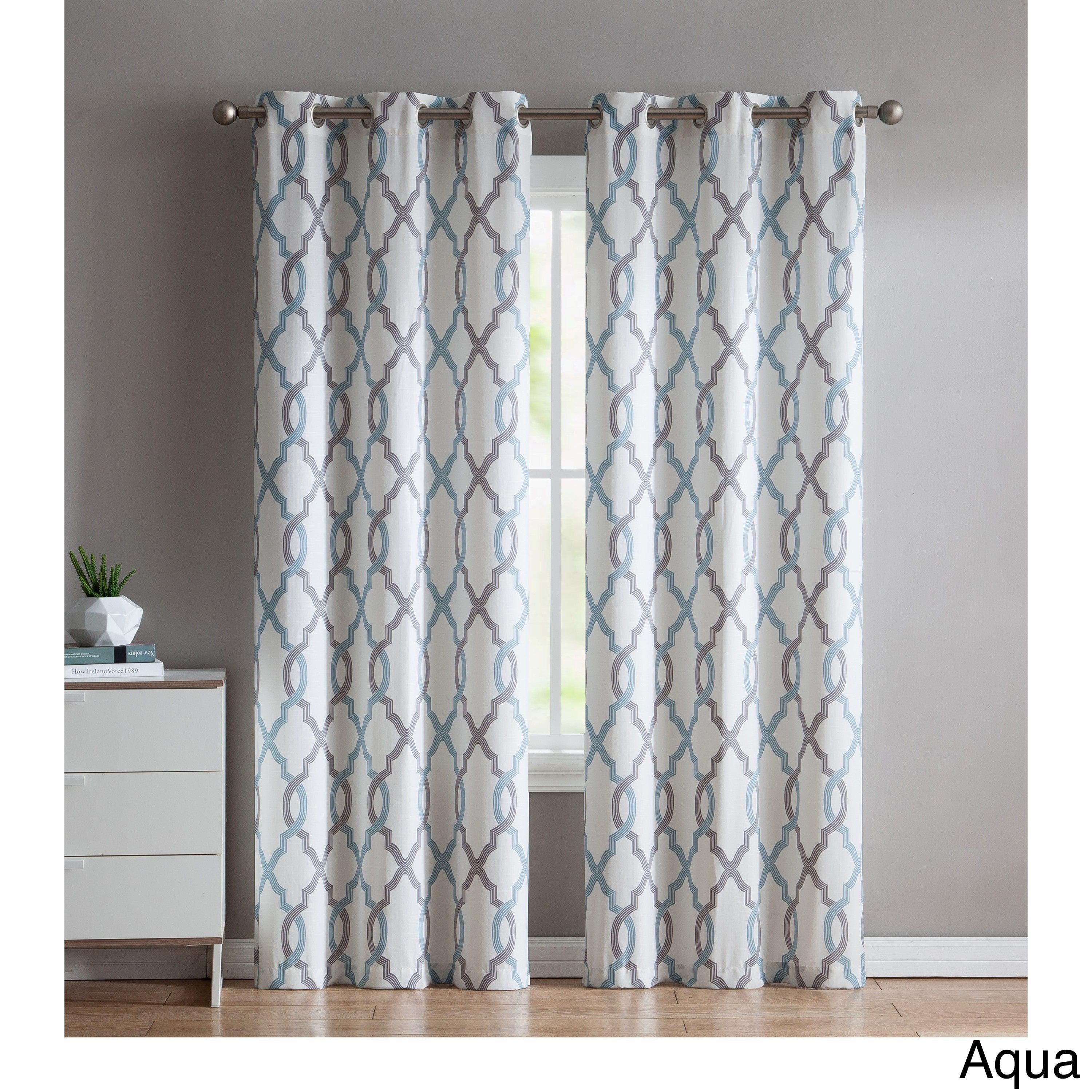 Vcny Home Caldwell Printed Curtain Panel Pair (aqua (blue In Grey Printed Curtain Panels (View 18 of 20)