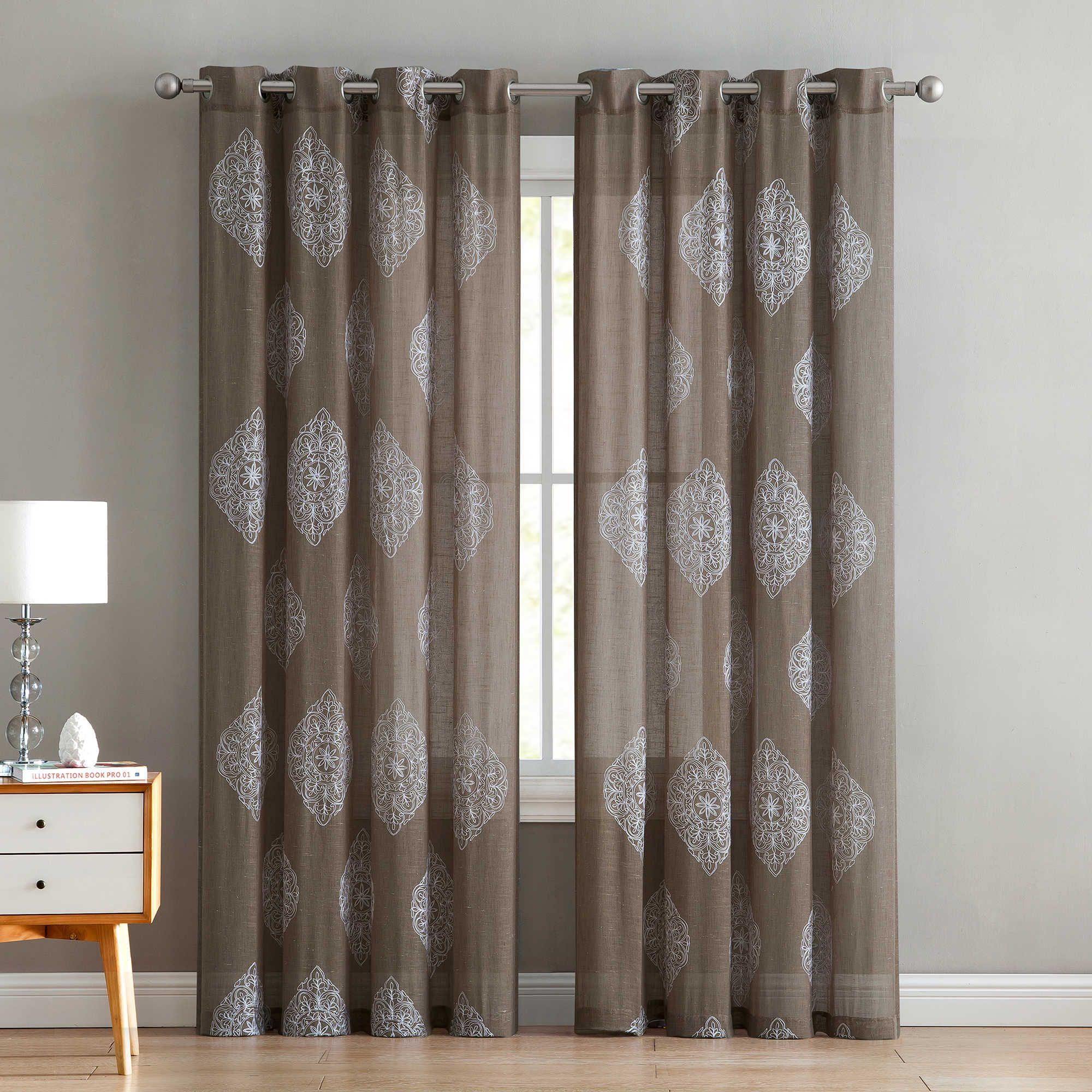 Vcny Home Gemma 84 Inch Grommet Top Window Curtain Panel In Regarding Essentials Almaden Fretwork Printed Grommet Top Curtain Panel Pairs (View 17 of 20)