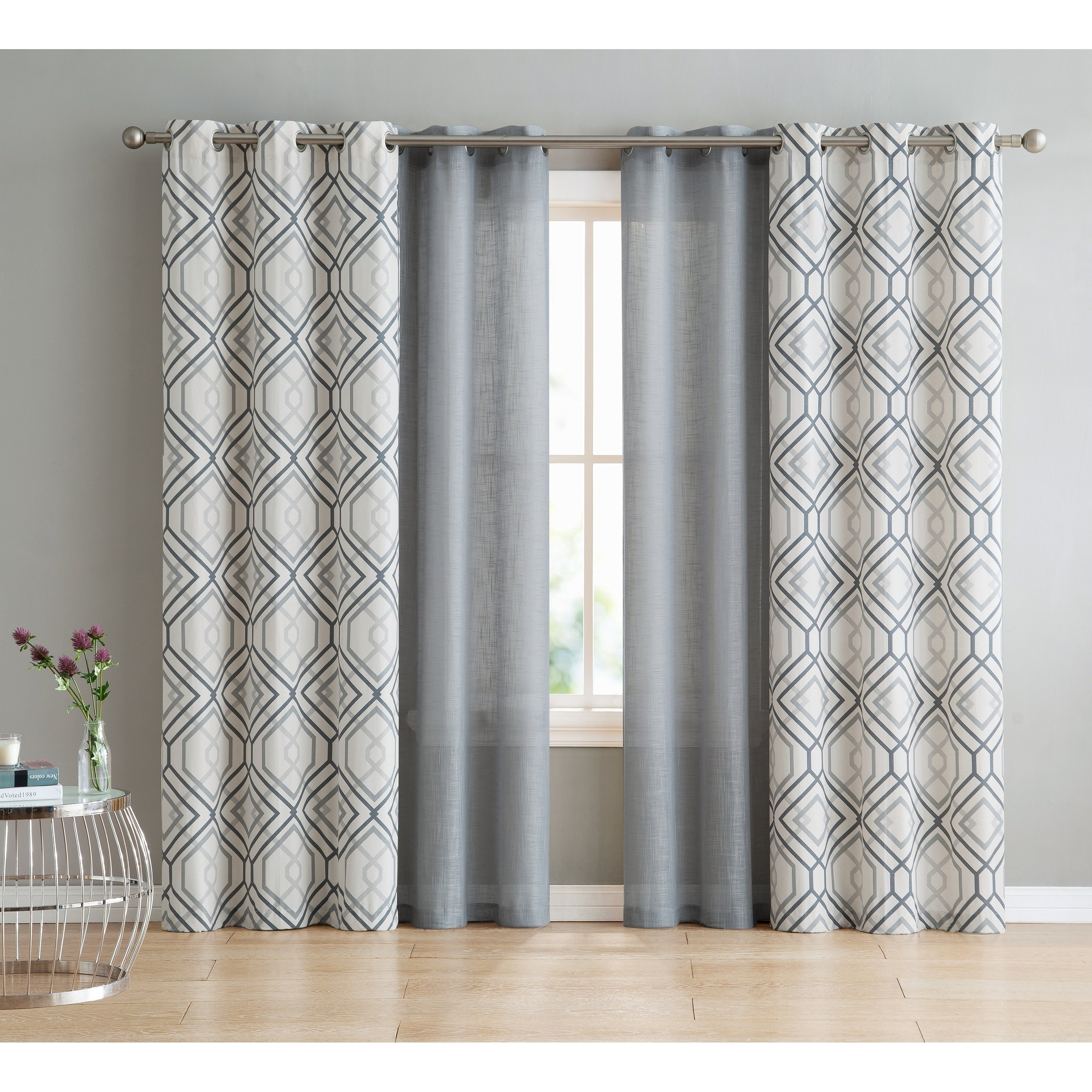 Vcny Home Jackston 4 Piece Curtain Panel Set Pertaining To Essentials Almaden Fretwork Printed Grommet Top Curtain Panel Pairs (View 10 of 20)