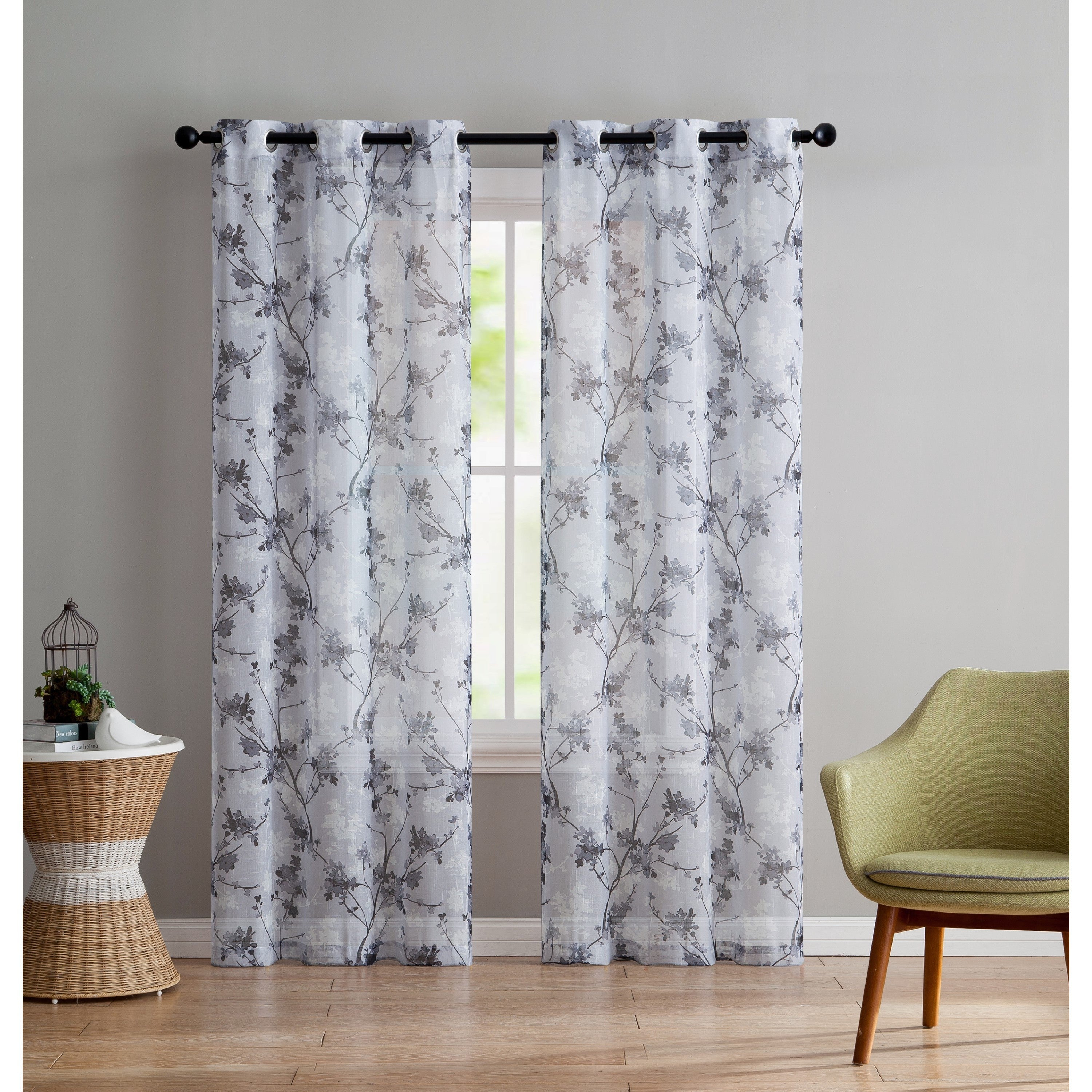 Vcny Home Jasmine Panel Pair With Grey Printed Curtain Panels (View 4 of 20)