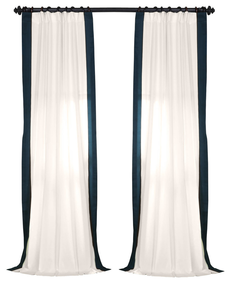 "Vertical Colorblock Panama Single Panel Curtain, Polo Navy, 50""x96"" Pertaining To Vertical Colorblock Panama Curtains (View 9 of 30)"