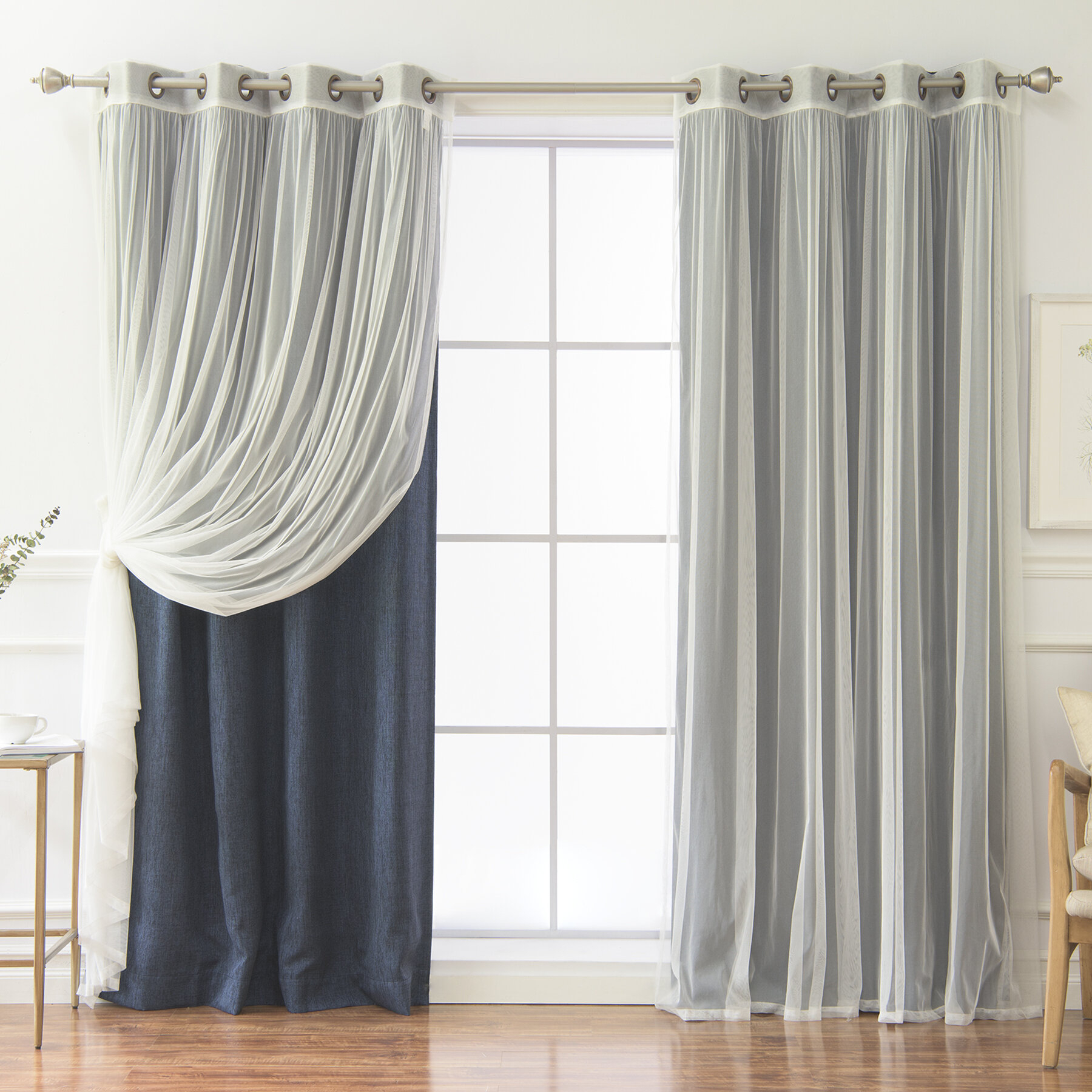 Vestal Tulle And Heathered Solid Blackout Thermal Grommet Curtain Panels Inside Tulle Sheer With Attached Valance And Blackout 4 Piece Curtain Panel Pairs (View 15 of 30)