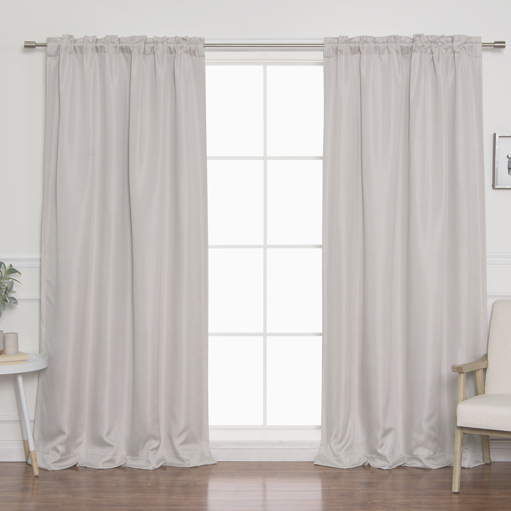 Vicenta Basketweave Faux Linen Solid Blackout Back Tab Top Curtain Panels Pertaining To Faux Linen Blackout Curtains (View 1 of 20)