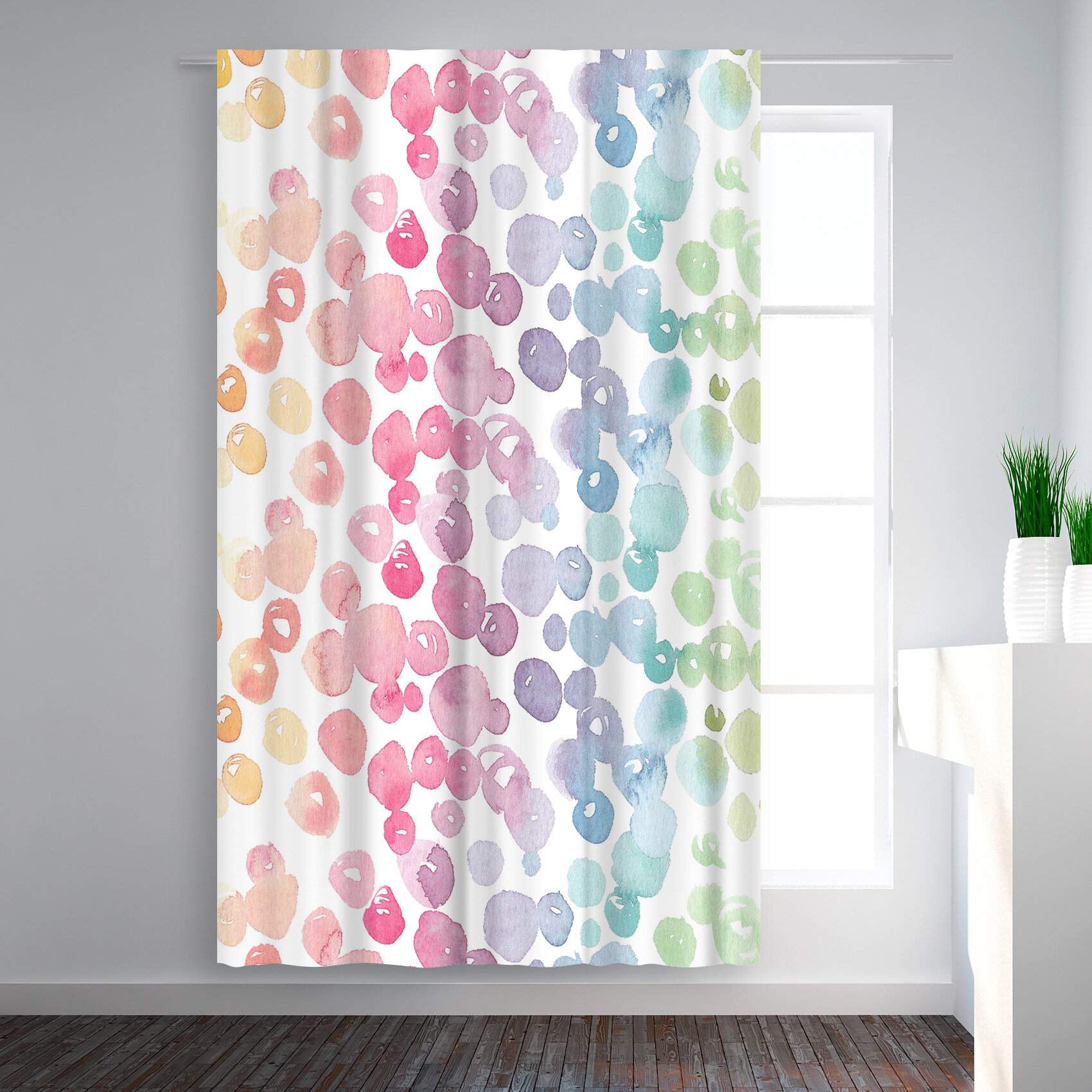 Victoria Nelson Rainbow Abstract Blackout Rod Pocket Single Curtain Panel Inside Abstract Blackout Curtain Panel Pairs (Image 22 of 22)