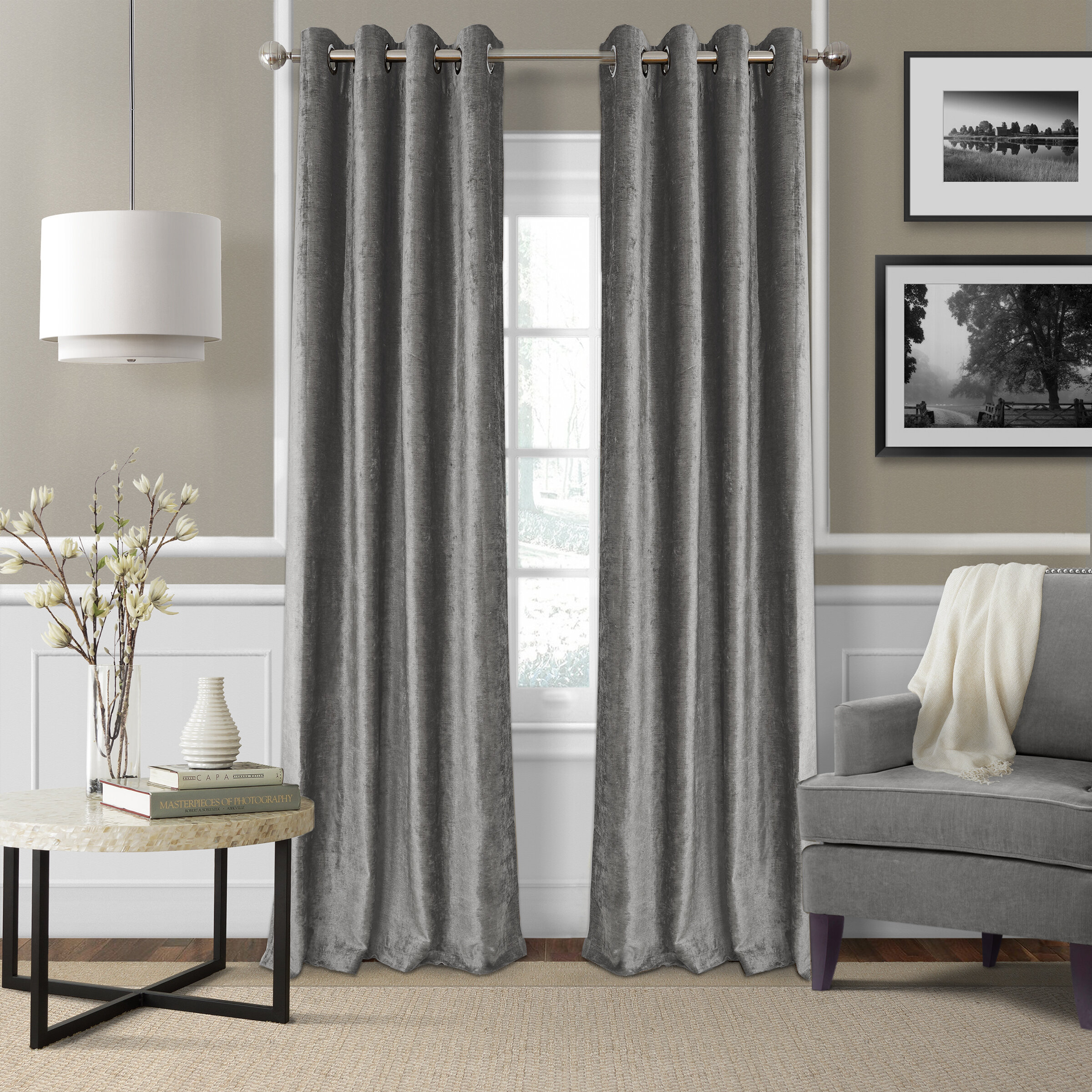 Victoria Velvet Solid Blackout Thermal Grommet Single Curtain Panel Regarding Velvet Solid Room Darkening Window Curtain Panel Sets (View 16 of 30)