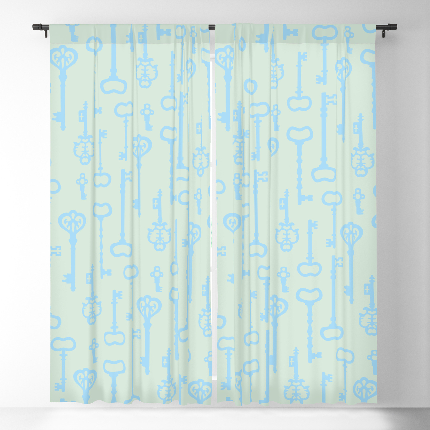Victorian Pastel Turquoise Keys Blackout Curtainxooxoo Pertaining To Keyes Blackout Single Curtain Panels (View 9 of 20)