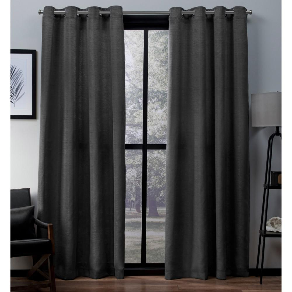 Virenze Black Pearl Faux Silk Grommet Top Window Curtain Within Luxury Collection Faux Leather Blackout Single Curtain Panels (View 16 of 20)