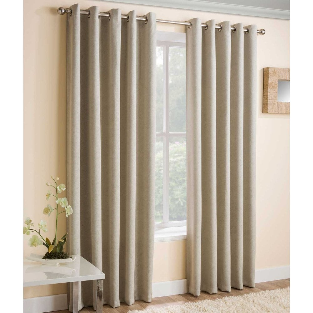 Vogue Embossed Eyelet Thermal Curtains In Cream Inside Embossed Thermal Weaved Blackout Grommet Drapery Curtains (View 16 of 20)