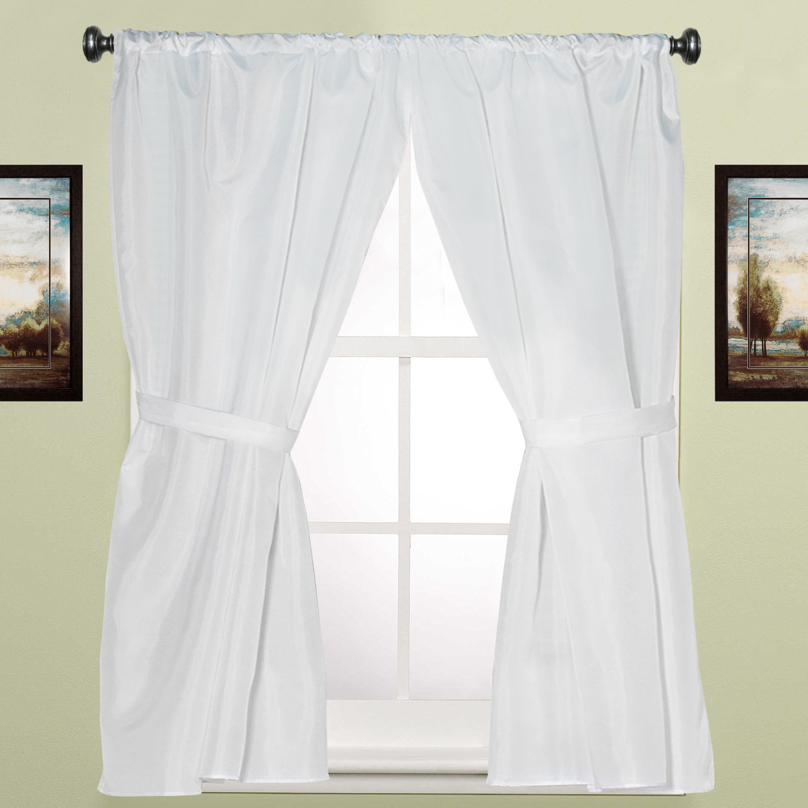 """Water Resistant White Fabric Bathroom Window Curtain Pair W/ Tiebacks 36"""" X 54"""" For Classic Hotel Quality Water Resistant Fabric Curtains Set With Tiebacks (View 20 of 20)"""