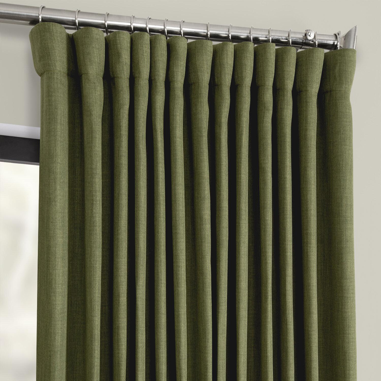 Waubun Faux Linen Extra Wide Solid Color Blackout Rod Pocket Single Curtain Panel Throughout Faux Linen Extra Wide Blackout Curtains (View 5 of 20)