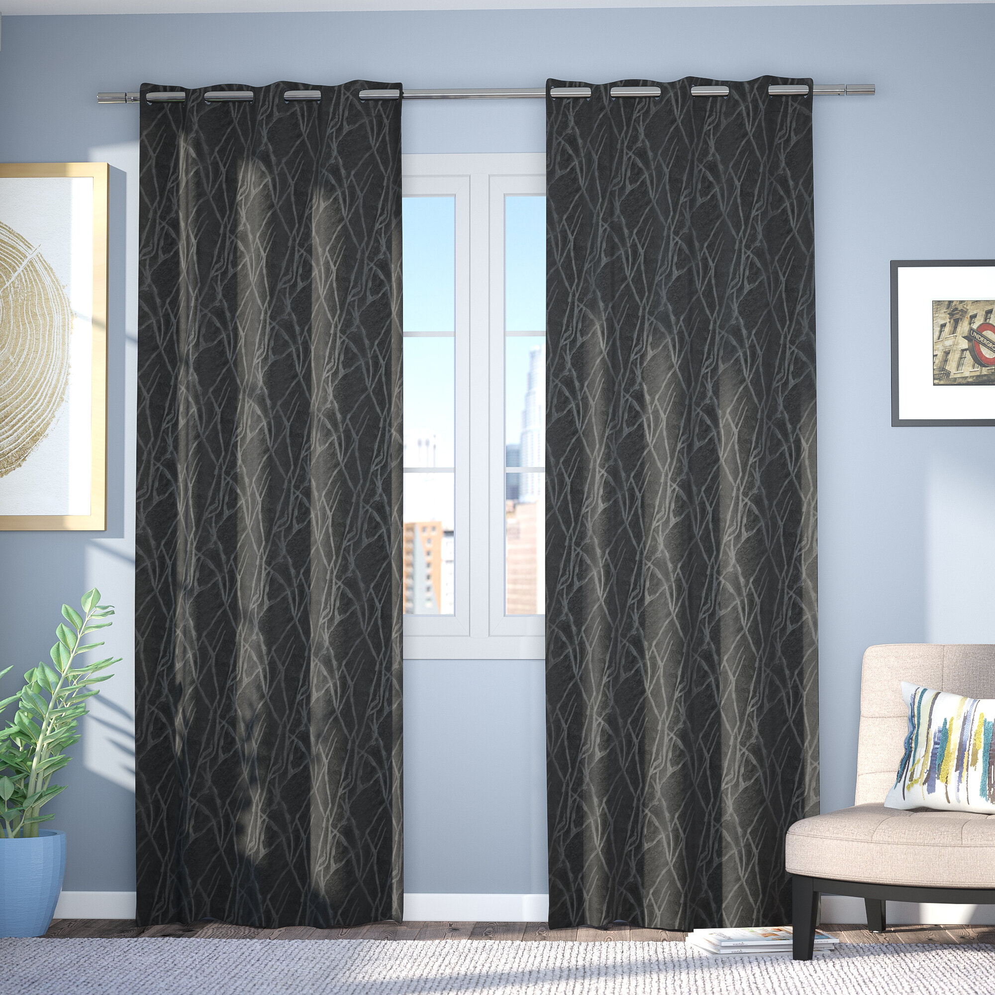 Waut Floral Room Darkening Thermal Grommet Curtain Panels Pertaining To Twig Insulated Blackout Curtain Panel Pairs With Grommet Top (View 13 of 30)