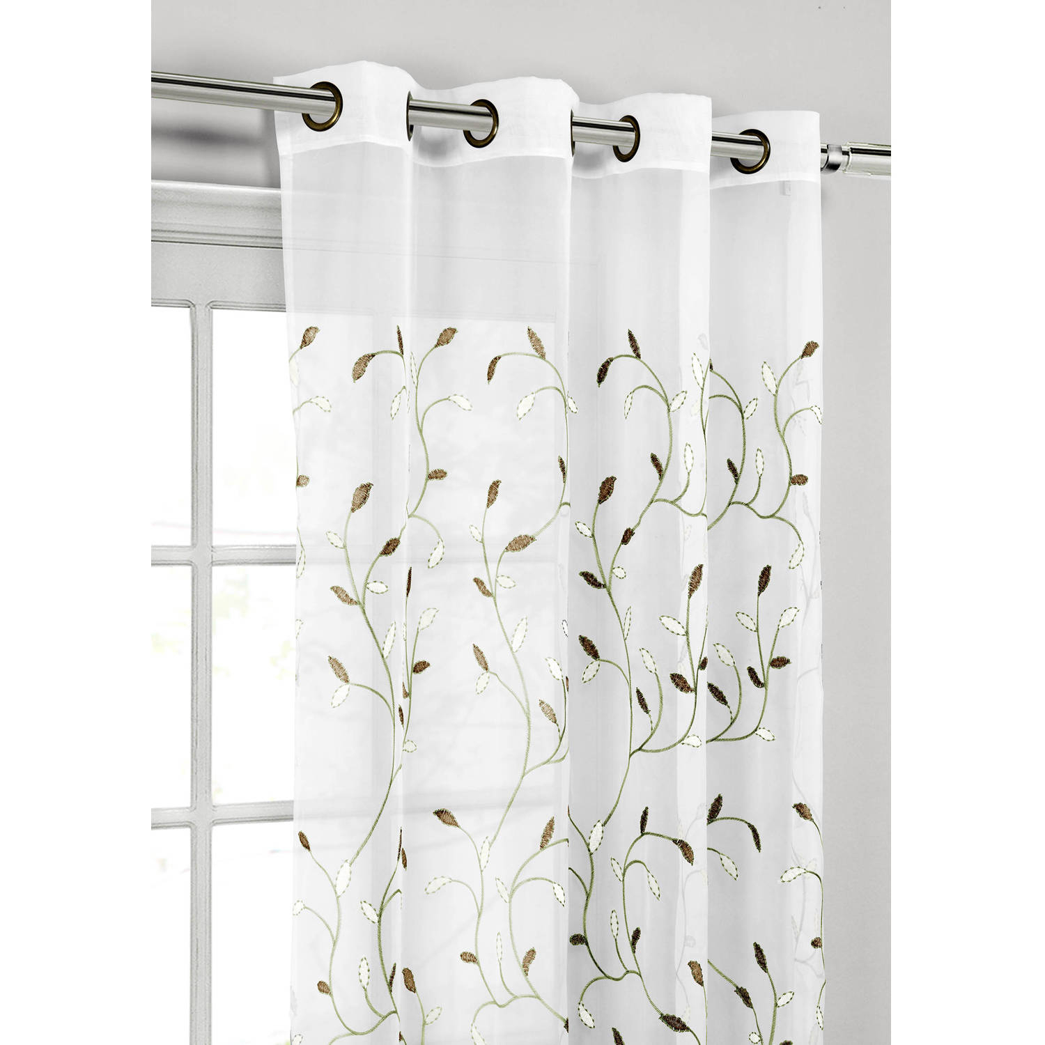 "Wavy Leaves Embroidered Sheer Extra Wide 54"" X 84"" Grommet Curtain Panel In Wavy Leaves Embroidered Sheer Extra Wide Grommet Curtain Panels (View 2 of 30)"