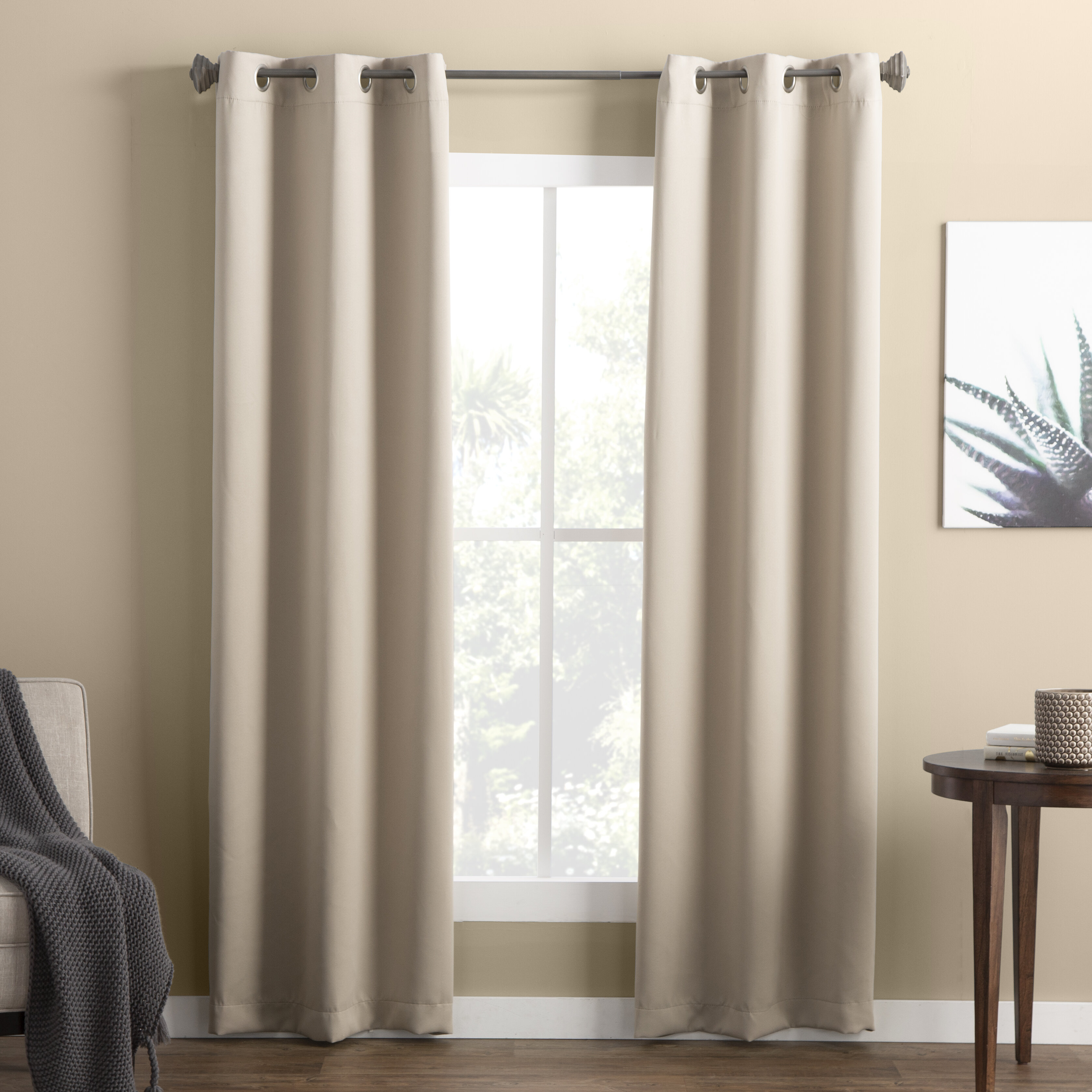 Wayfair Basics Solid Blackout Grommet Single Curtain Panel With Warm Black Velvet Single Blackout Curtain Panels (View 8 of 30)