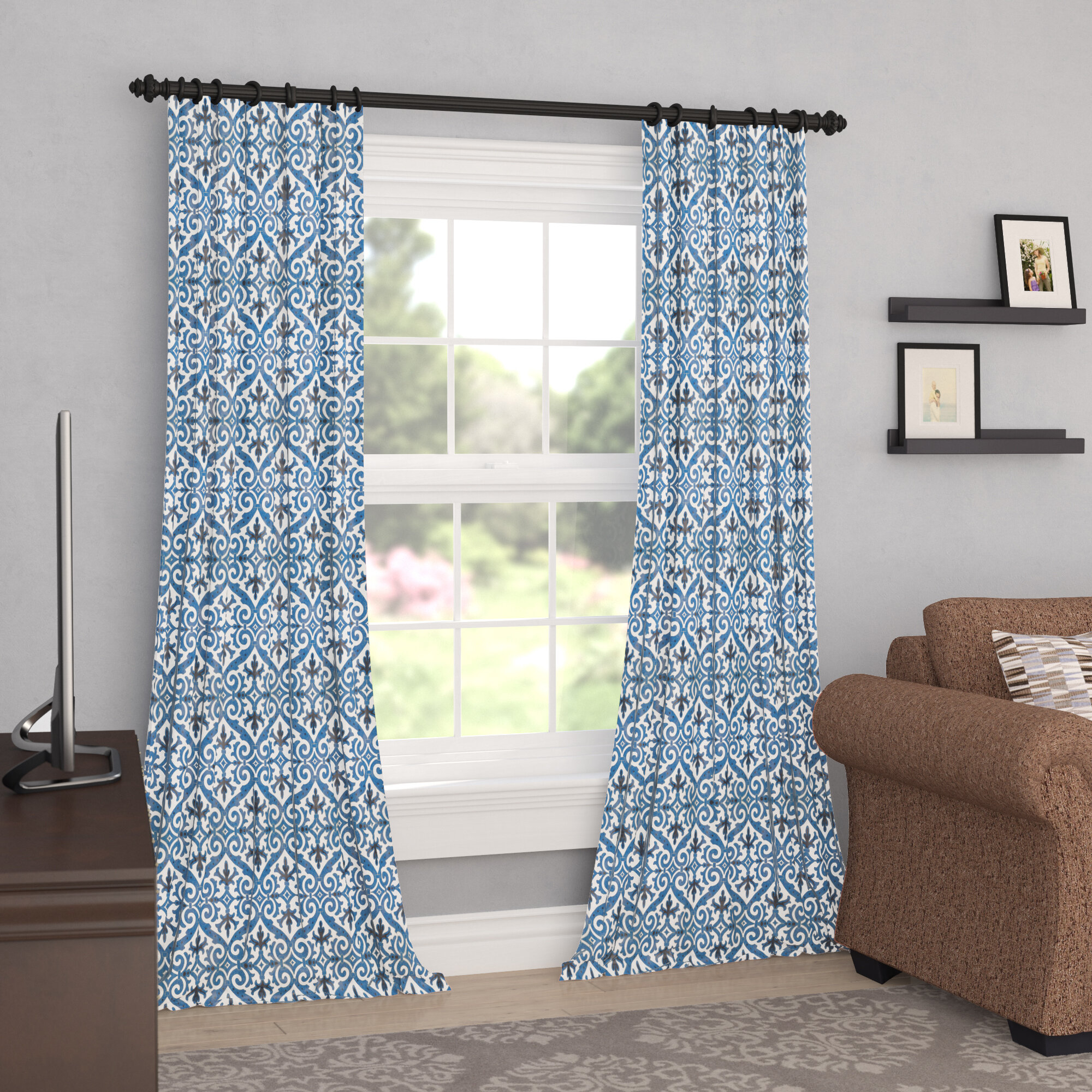 Welby Printed Faux Silk Taffeta Damask Blackout Thermal Rod Pocket Single Curtain Panel With Pastel Damask Printed Room Darkening Grommet Window Curtain Panel Pairs (View 20 of 20)