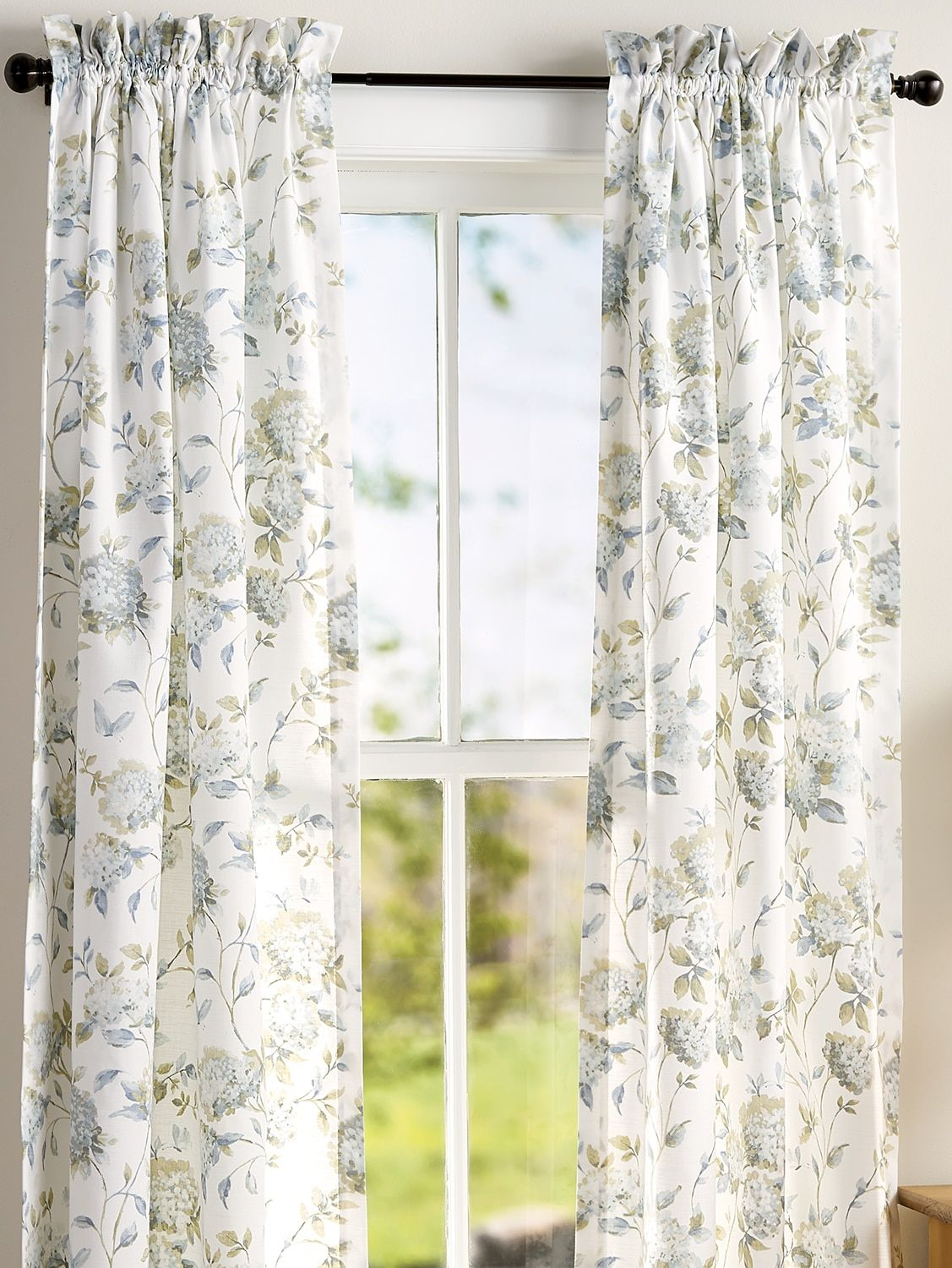Whispering Hydrangeas Rod Pocket Curtains In 2019 | Curtains With Willow Rod Pocket Window Curtain Panels (View 20 of 30)