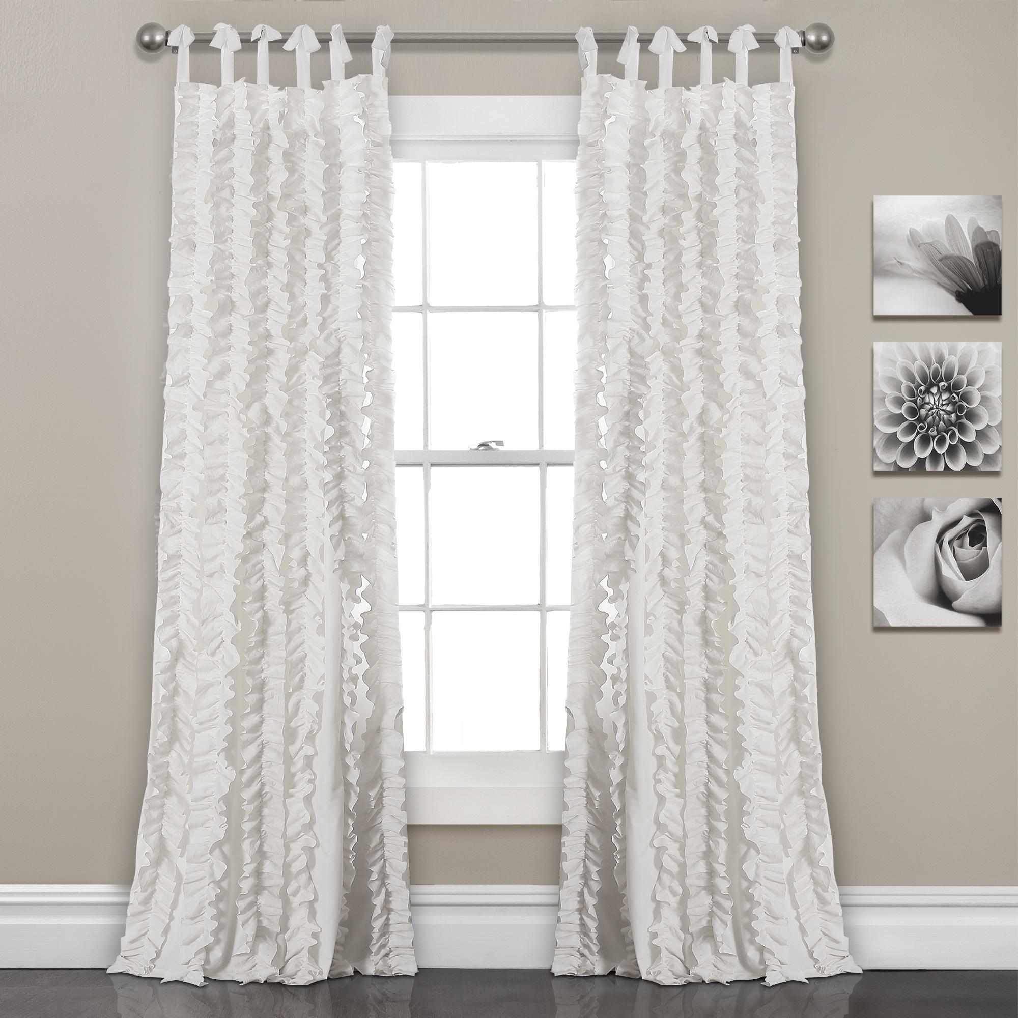White 84'x40' Sophia Ruffle Window Curtain Set Regarding Lydia Ruffle Window Curtain Panel Pairs (View 7 of 20)