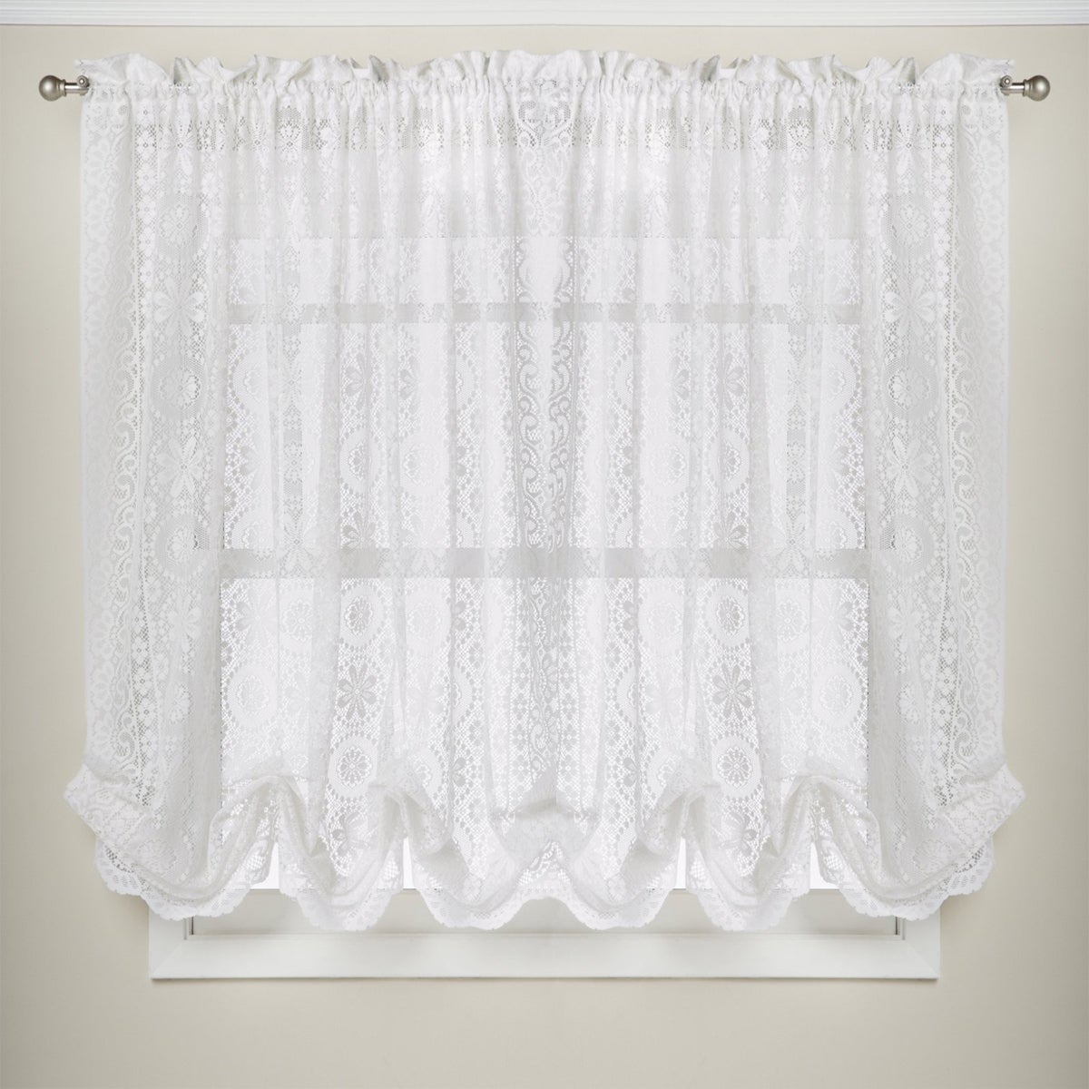 White Lace Luxurious Old World Style Kitchen Curtains Tiers, Shade Or Valances Pertaining To Luxurious Old World Style Lace Window Curtain Panels (View 7 of 20)