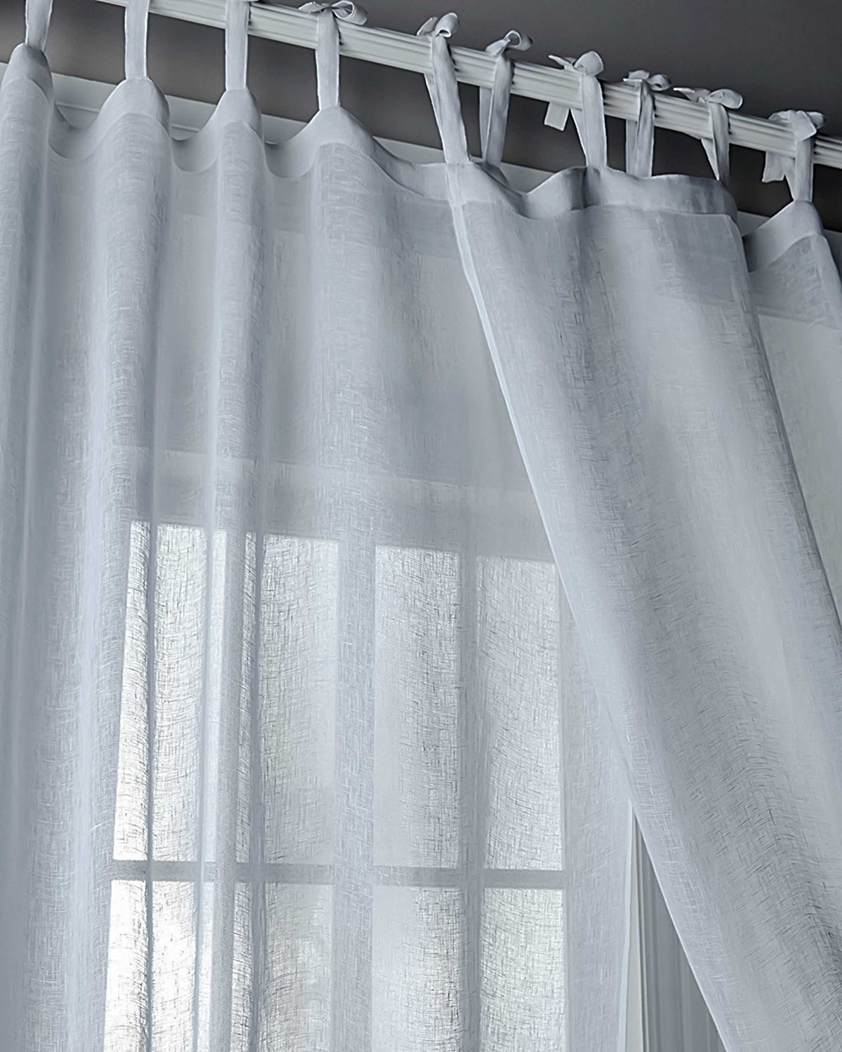 White Tie Tab Curtains – Easy Home Decorating Ideas Pertaining To Elrene Jolie Tie Top Curtain Panels (View 14 of 20)