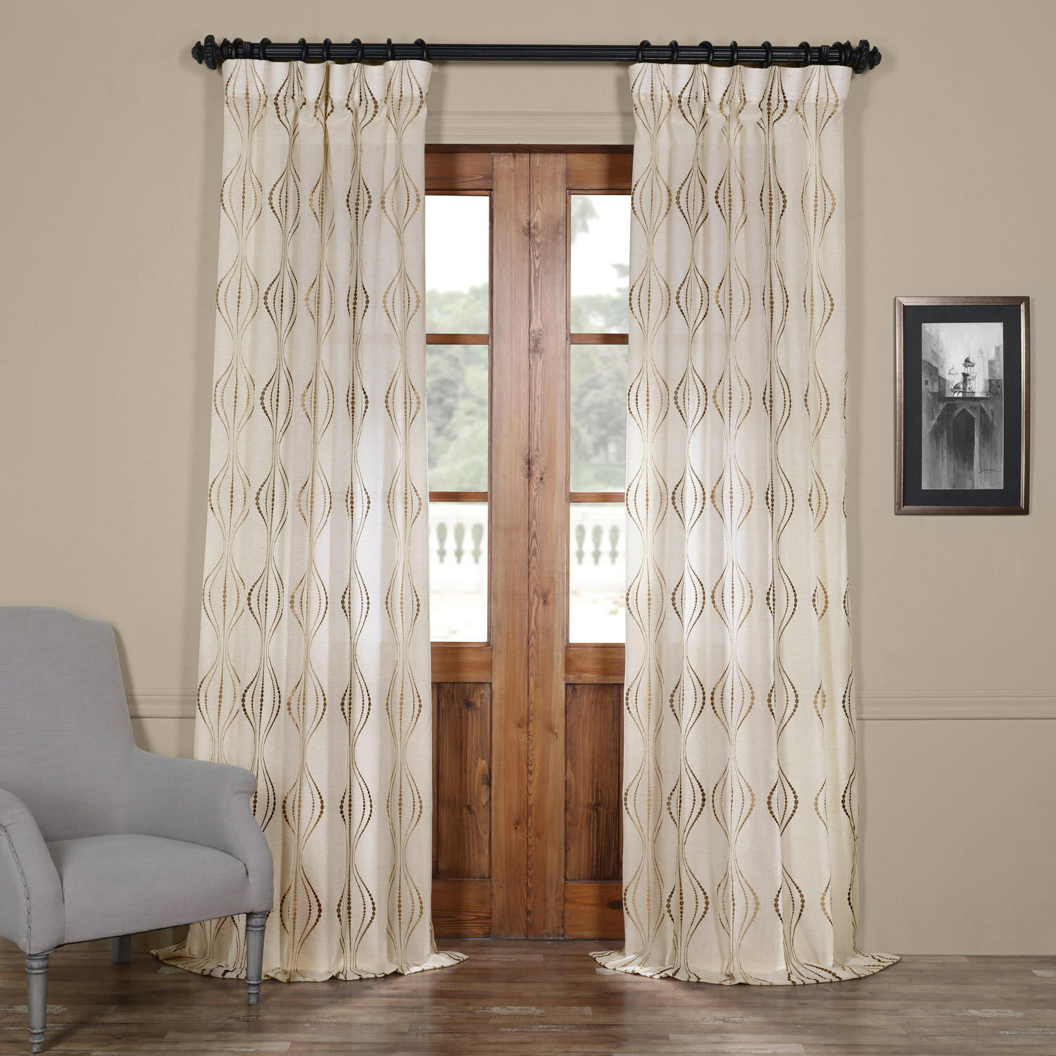 Whitner Embroidered Geometric Sheer Rod Pocket Curtain Panel Regarding Rod Pocket Curtain Panels (View 20 of 20)