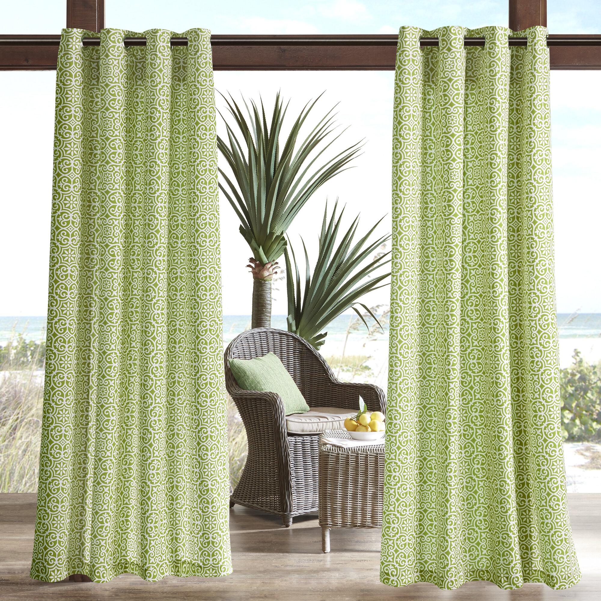 Willette Semi Sheer Outdoor Grommet Single Curtain Panel Inside Single Curtain Panels (View 13 of 31)