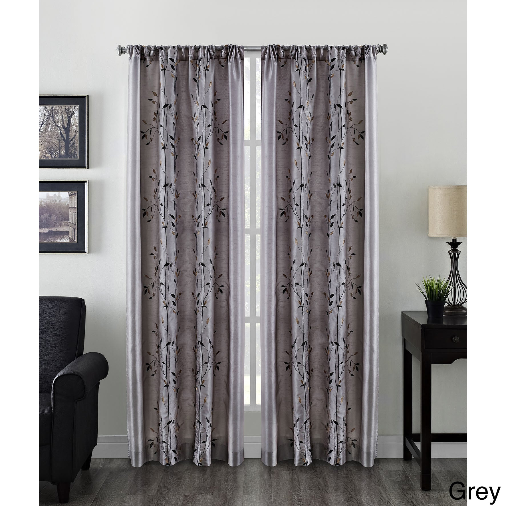 Willow Faux Silk Embroidered Rod Pocket Curtain Panel – 50 X 84 For Willow Rod Pocket Window Curtain Panels (View 9 of 30)