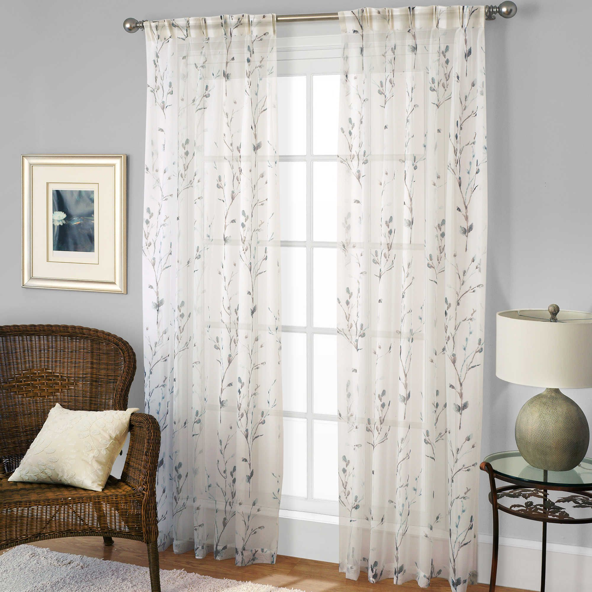 Willow Print Pinch Pleat 63 Inch Sheer Window Curtain Panel For Willow Rod Pocket Window Curtain Panels (View 12 of 30)