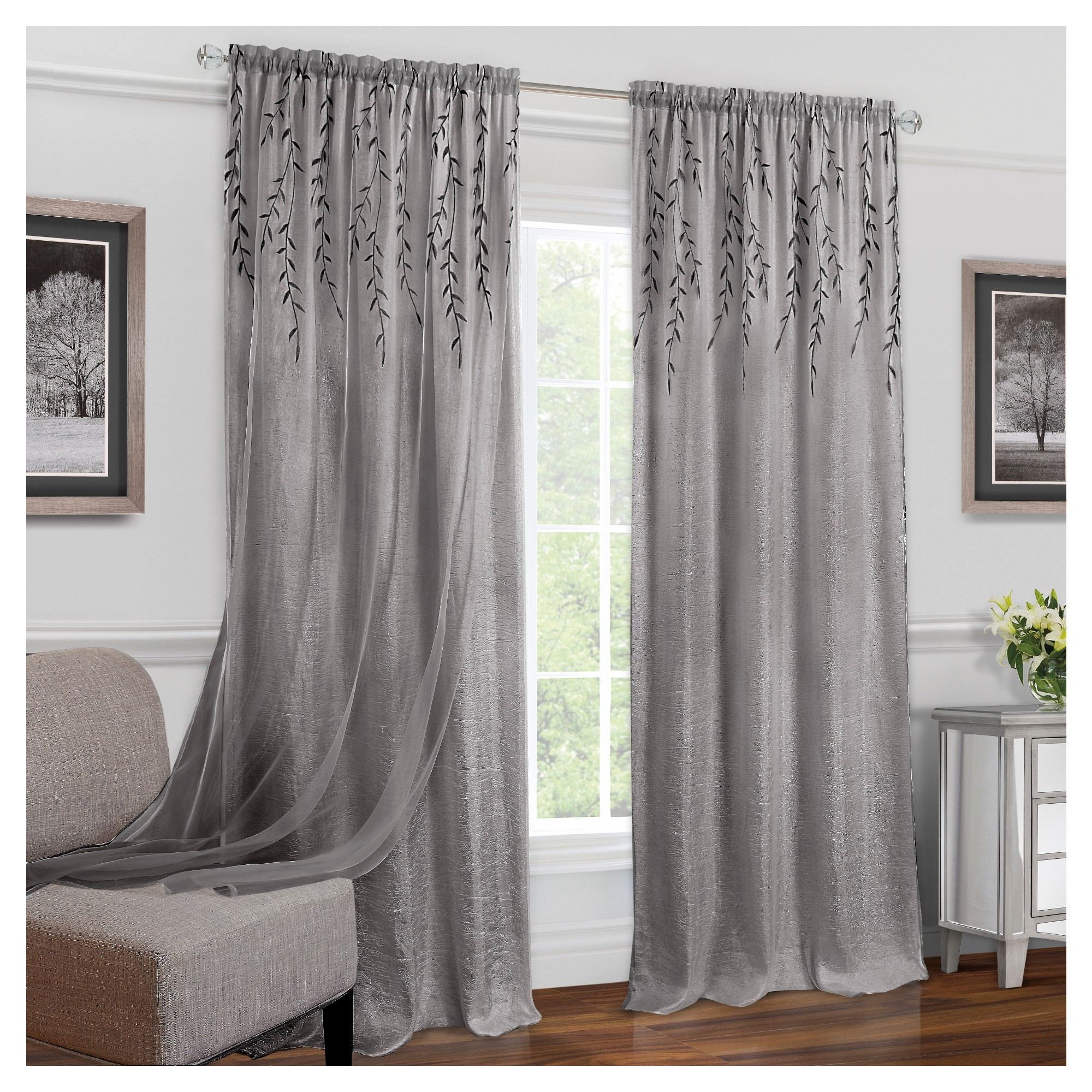 "Willow Rod Pocket Window Curtain Panel White (42""x63 Regarding Willow Rod Pocket Window Curtain Panels (View 2 of 30)"