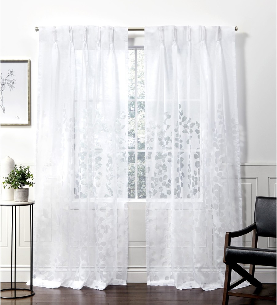 Wilshire Burnout Sheer Pinch Pleat Curtain Panel Pair, Winter White, 27x108 Regarding Penny Sheer Grommet Top Curtain Panel Pairs (View 8 of 20)