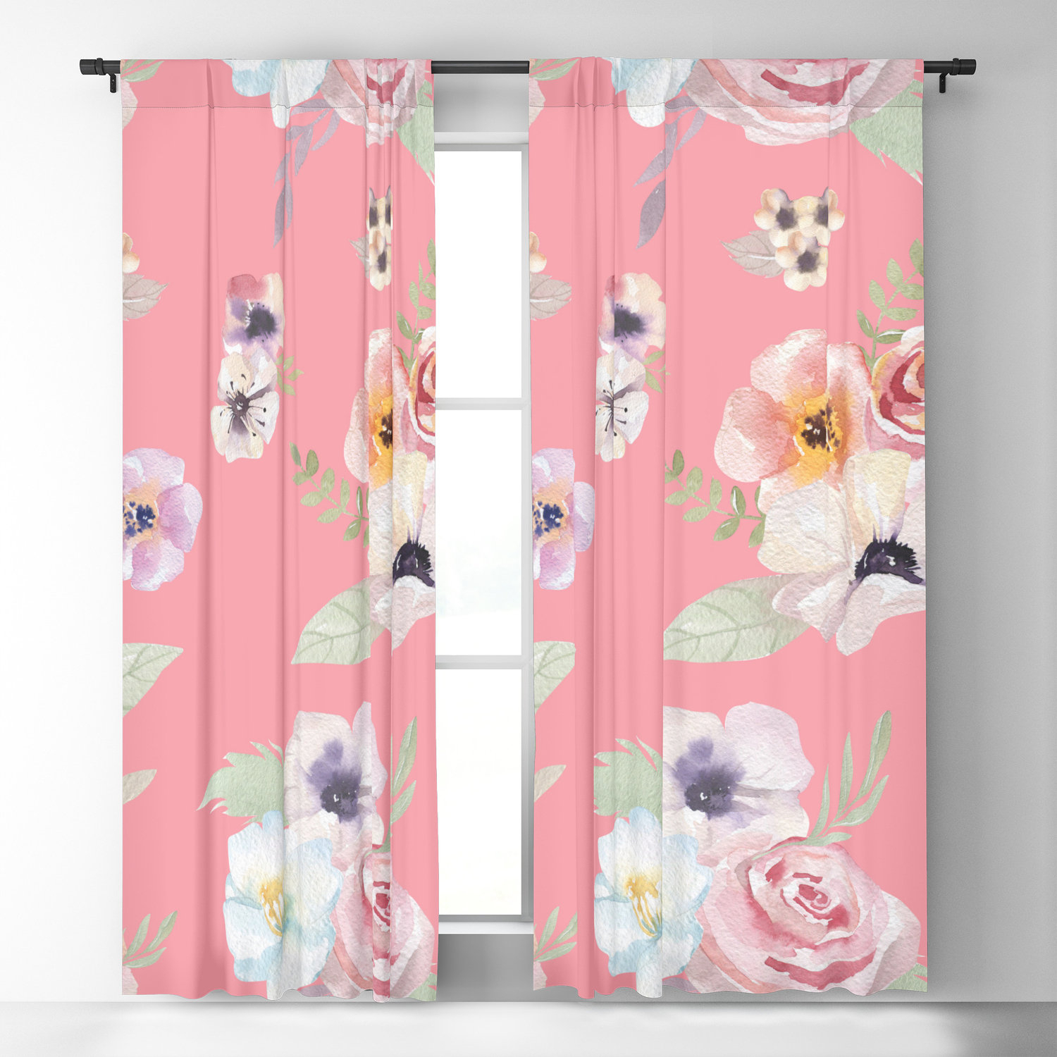 Window Curtains – Watercolor Floral I – Bright Pink – 50 X 84 Or With Regard To Andorra Watercolor Floral Textured Sheer Single Curtain Panels (Image 19 of 20)