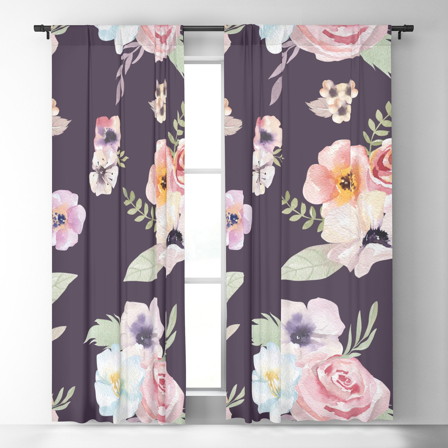 Window Curtains – Watercolor Floral I – Eggplant Pink – 50 X 84 Pertaining To Andorra Watercolor Floral Textured Sheer Single Curtain Panels (View 17 of 20)