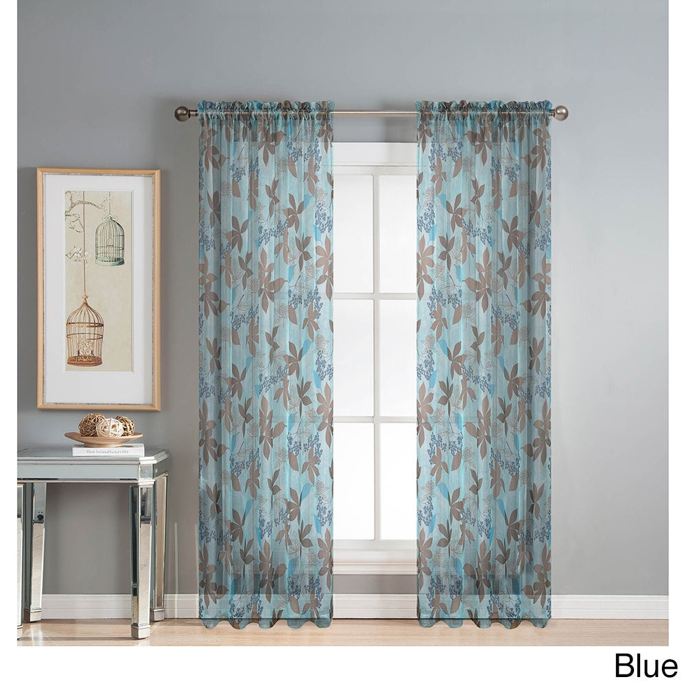 Window Elements Ashville Printed Extra Wide 84 Inch Rod Pocket Sheer Curtain Panel – 54 X 84 With Willow Rod Pocket Window Curtain Panels (View 19 of 30)