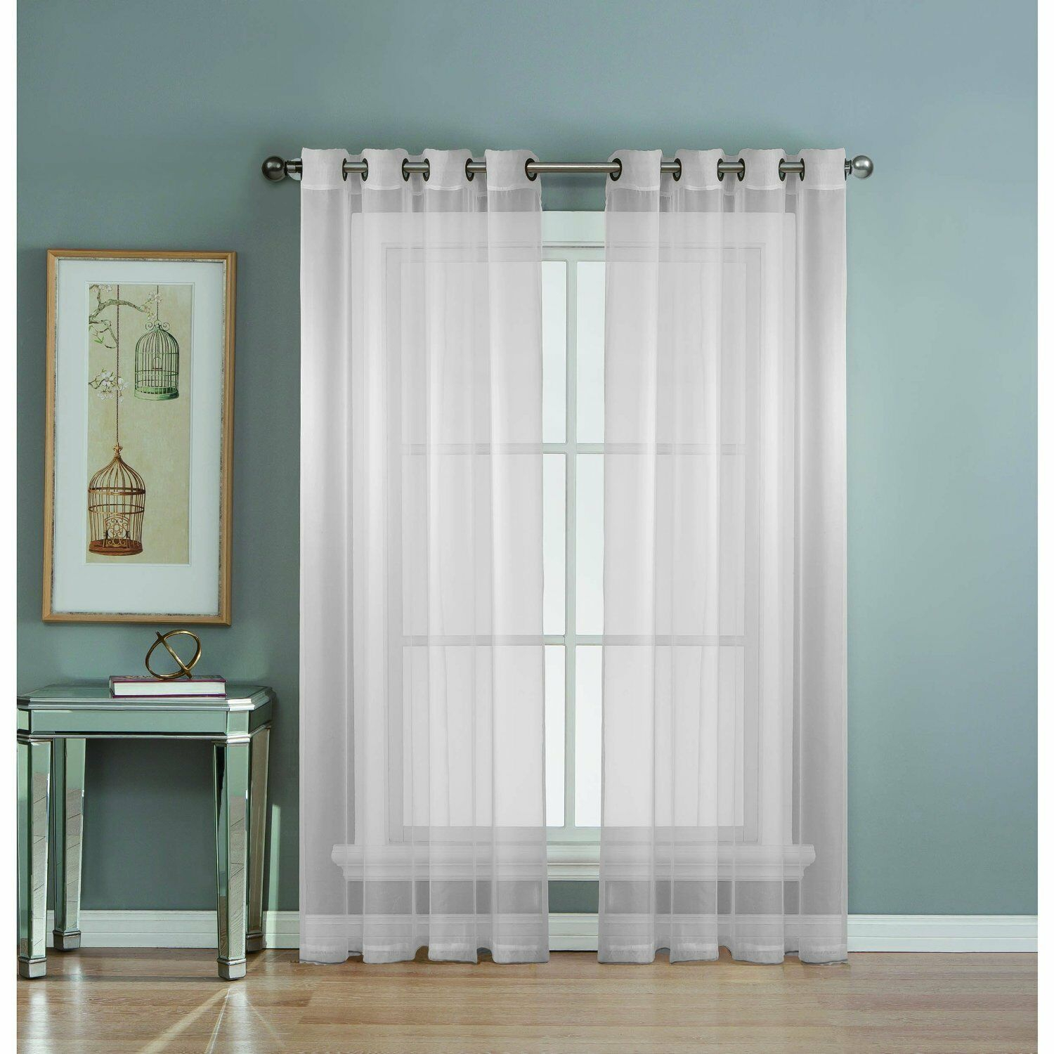 Window Elements Diamond Sheer Voile Extra Wide Grommet Curtain Panel, 56 X 90 In With Wavy Leaves Embroidered Sheer Extra Wide Grommet Curtain Panels (View 7 of 30)