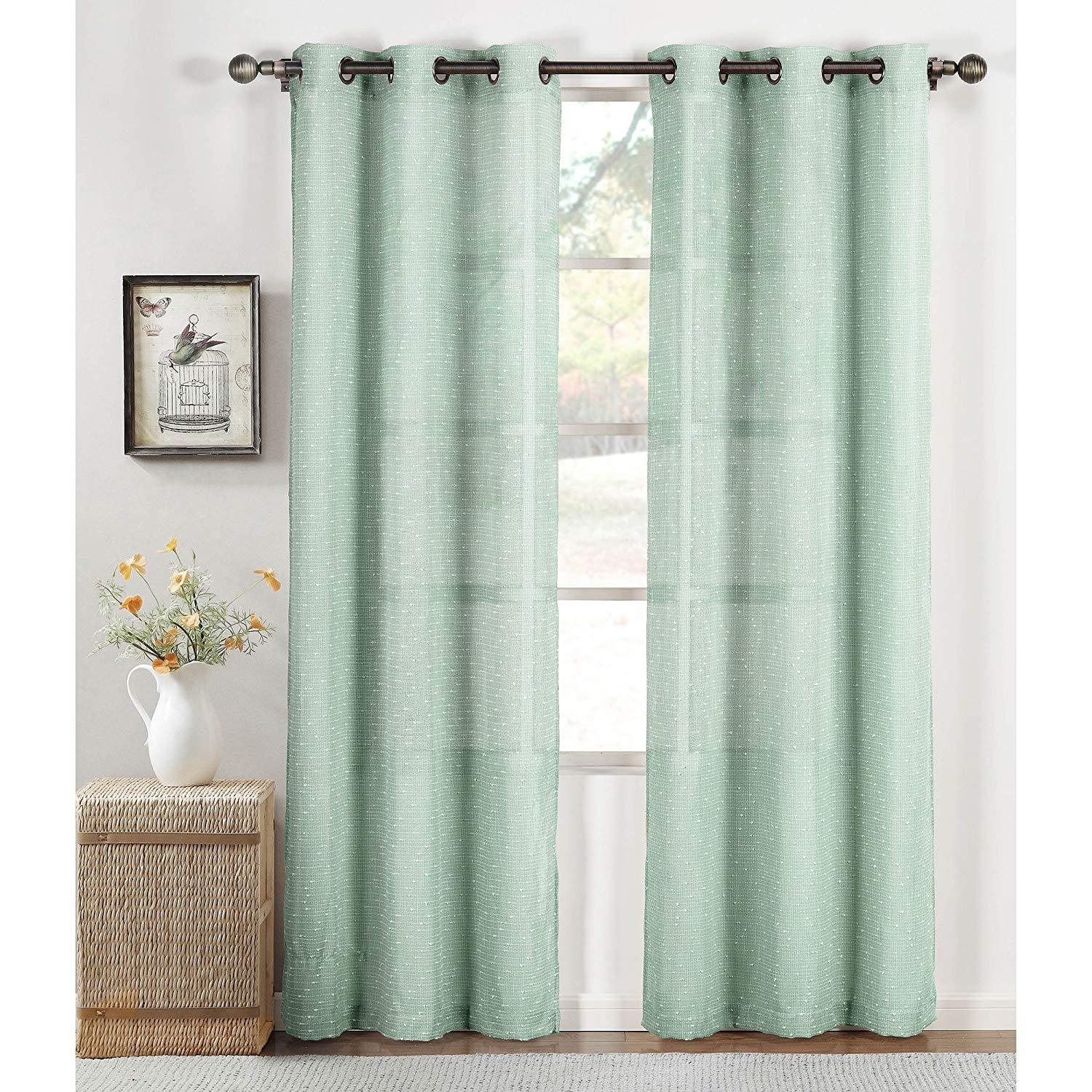 Window Elements Nubby Linen Blend Sheer And 27 Similar Items Regarding Wavy Leaves Embroidered Sheer Extra Wide Grommet Curtain Panels (View 13 of 30)