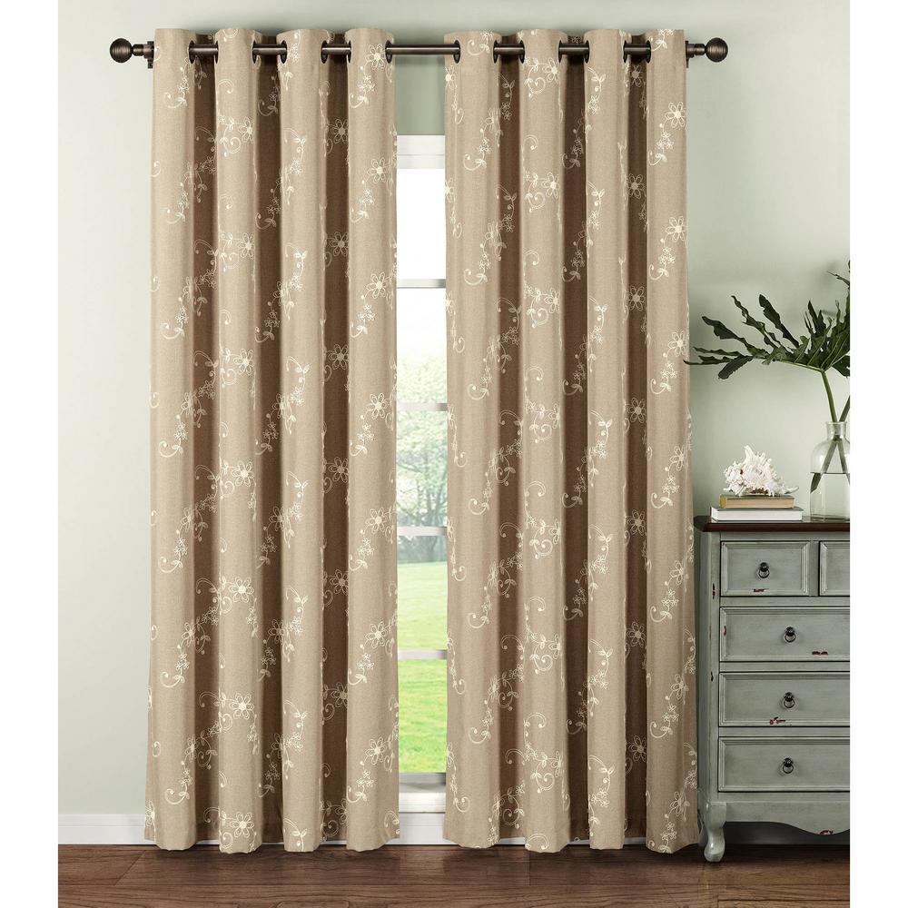 Window Elements Semi-Opaque Ashley Embroidered Faux Linen Extra Wide 84 In.  L Grommet Curtain Panel Pair, Ivory (Set Of 2) throughout Grommet Curtain Panels (Image 18 of 20)