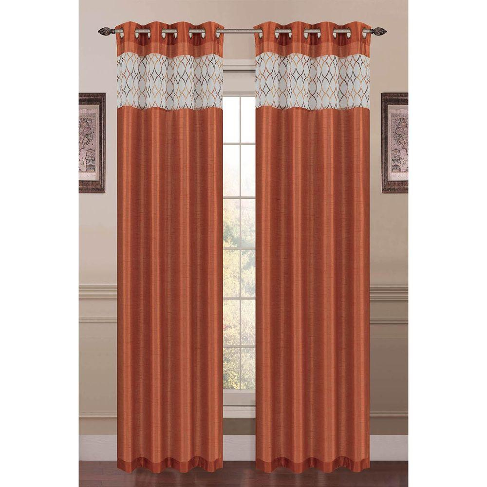 Window Elements Semi Opaque Felicity Embroidered Faux Silk 54 In. W X 84 In (View 18 of 20)
