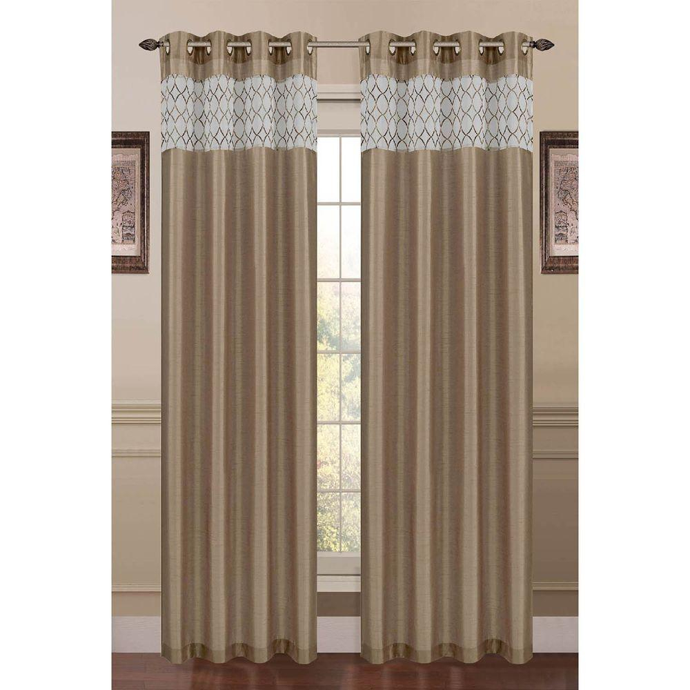 Window Elements Semi Opaque Felicity Embroidered Faux Silk 54 In. W X 84 In (View 8 of 20)