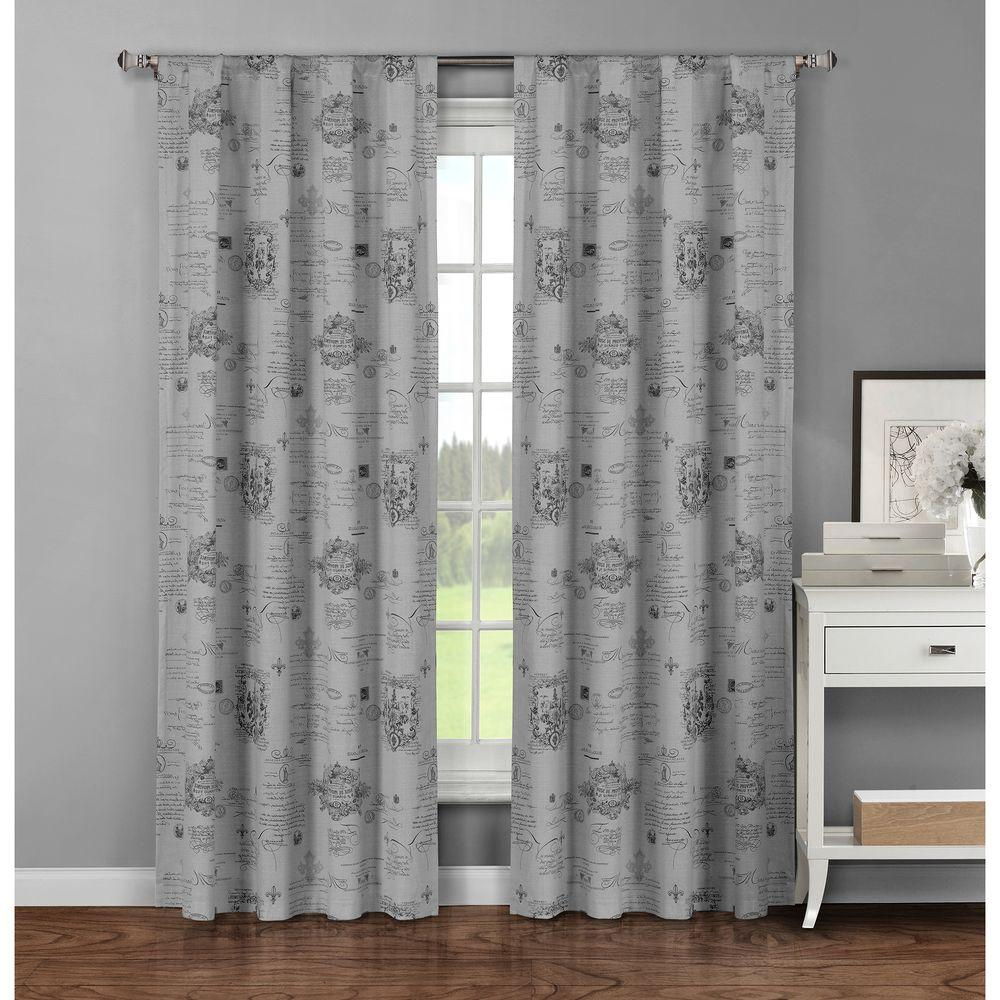 Window Elements Semi Opaque Fleur De Lis Printed Cotton Extra Wide 96 In (View 11 of 20)
