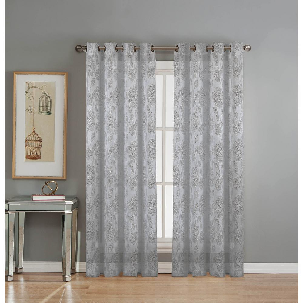 Window Elements Sheer Avery Cotton Blend Burnout Sheer Extra Wide 84 In. L  Grommet Curtain Panel Pair, Silver (Set Of 2) intended for Grommet Curtain Panels (Image 19 of 20)