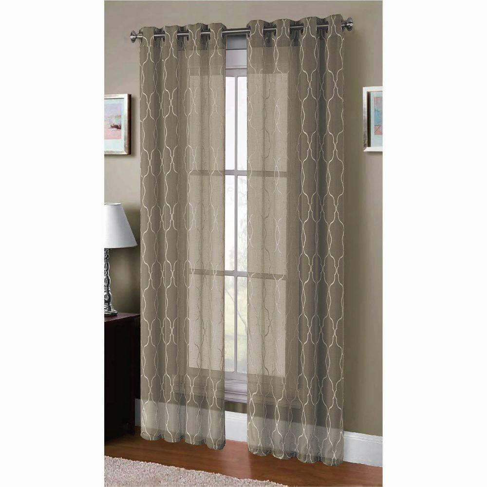 Window Elements Sheer Boho Embroidered Sheer Faux Linen 96 In (View 20 of 20)
