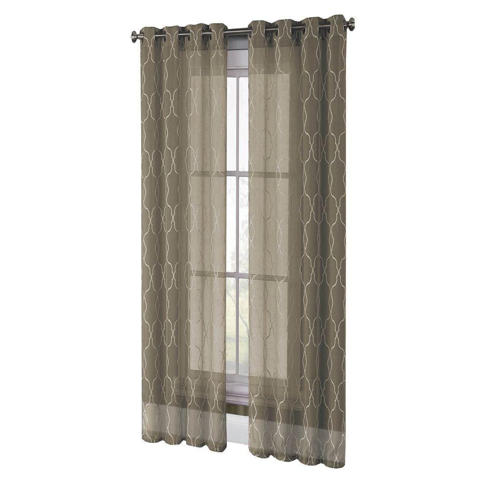 Window Elements Sheer Boho Embroidered Sheer Faux Linen 96 In (View 11 of 20)